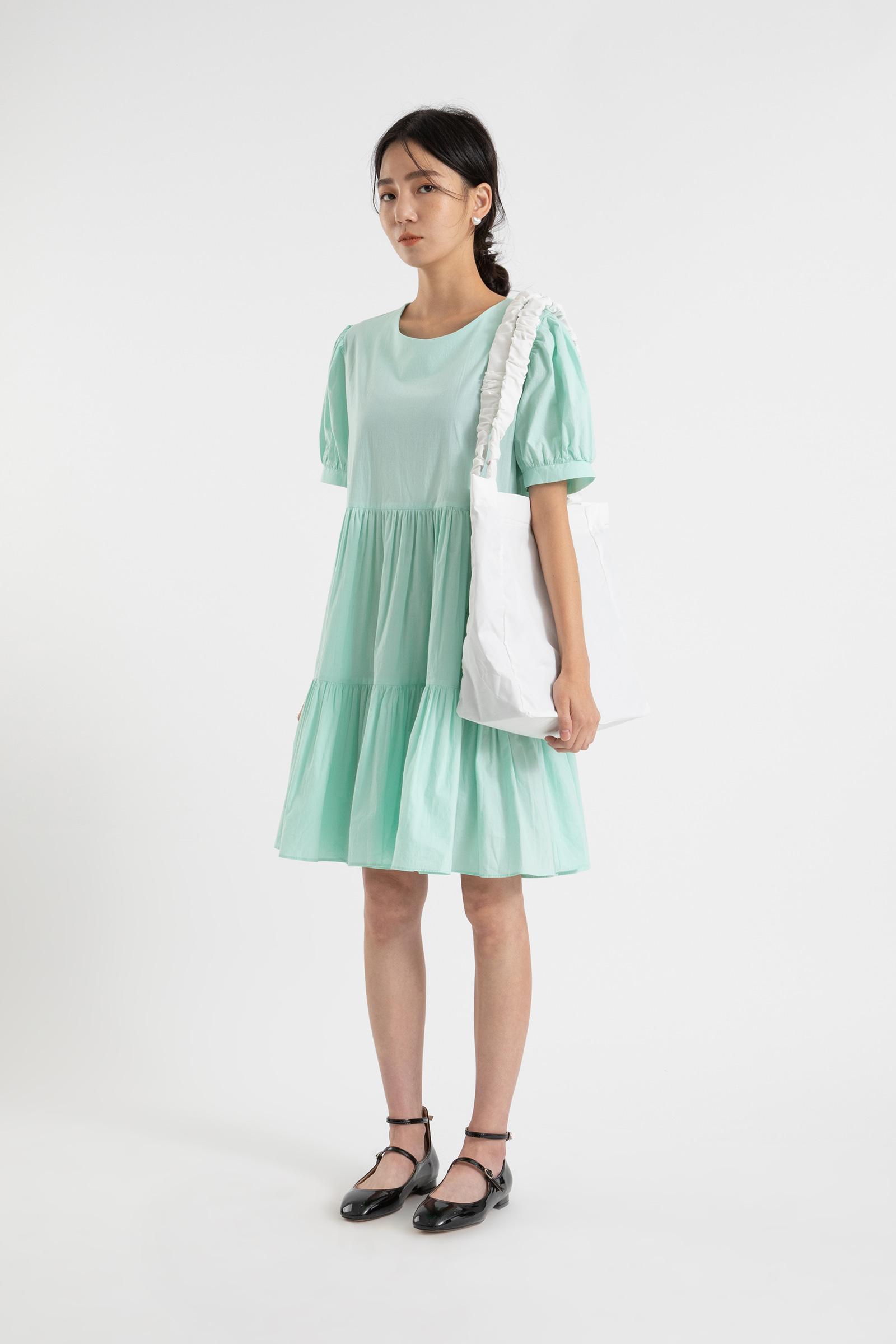 Aurora puff cancan midi dress