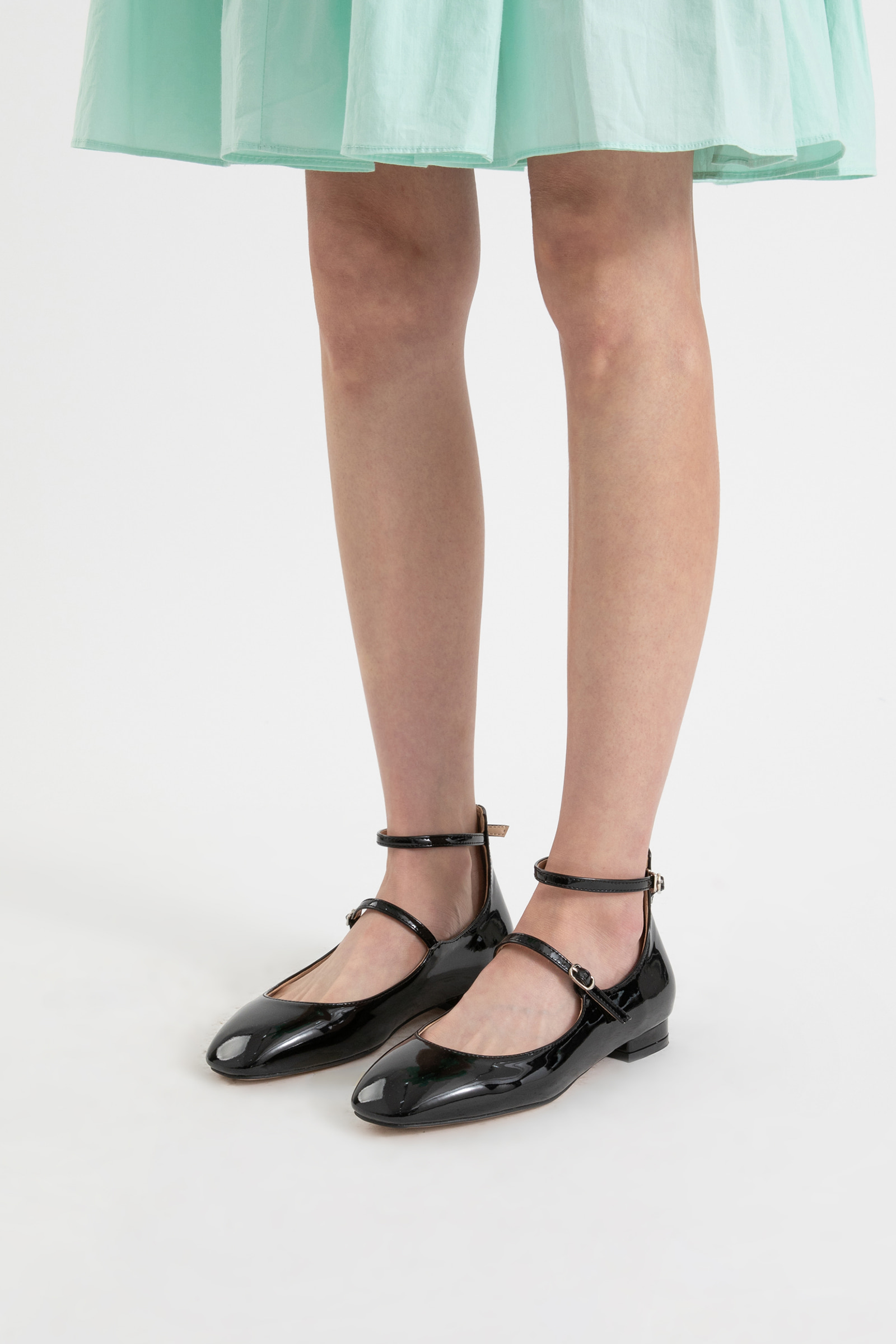 Enamel Mary Jane flat sandals
