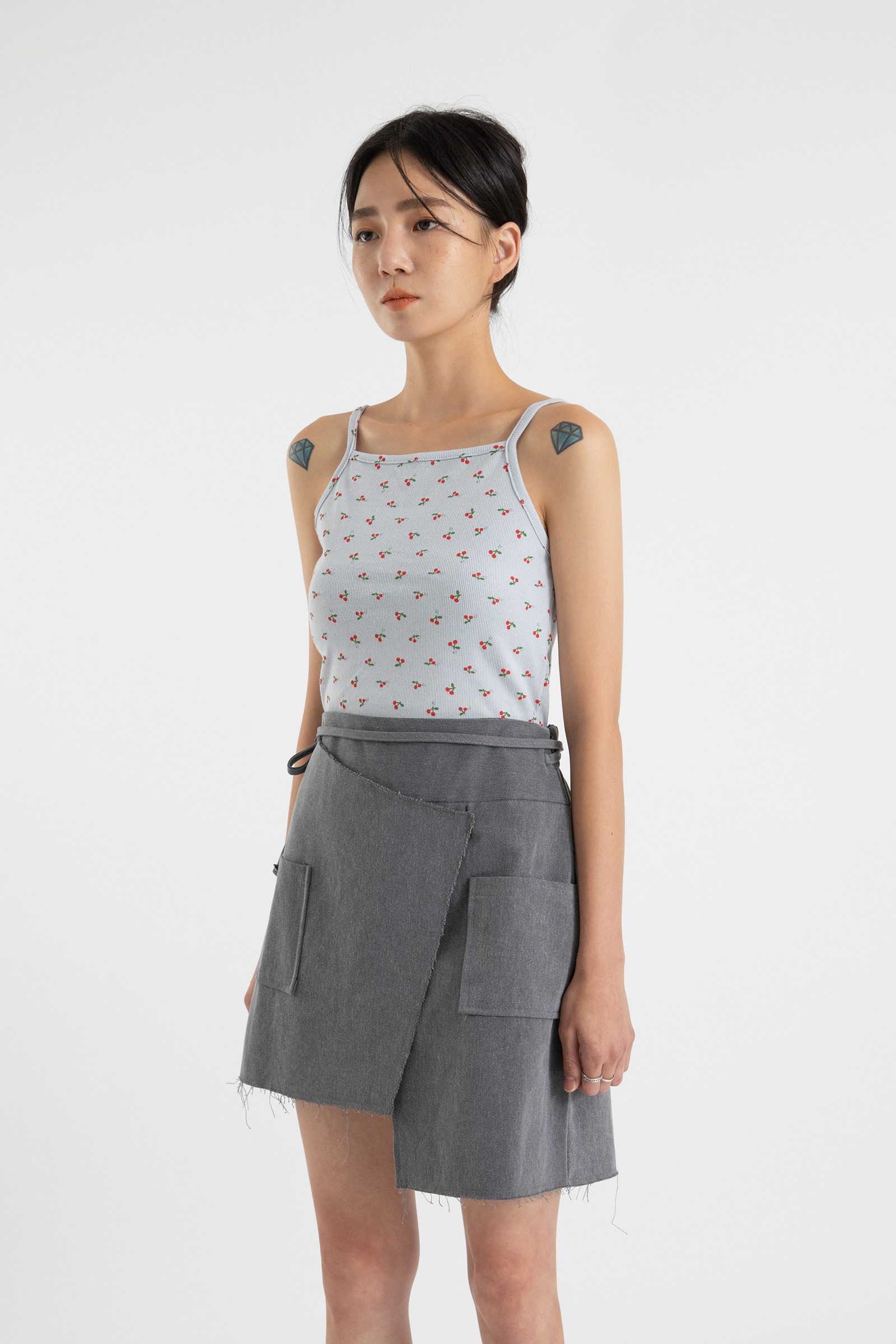 Cherry slim sleeveless top