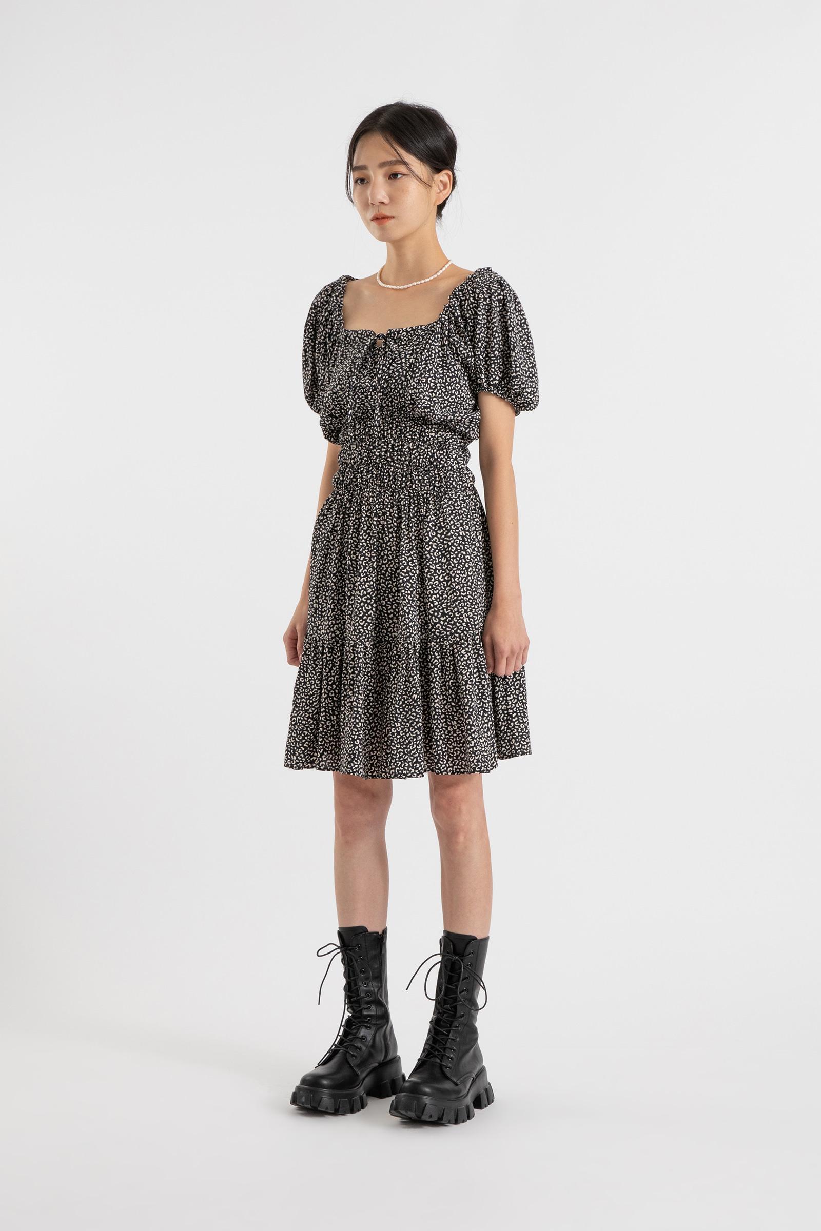 Off-the-shoulder leopard shirring midi dress