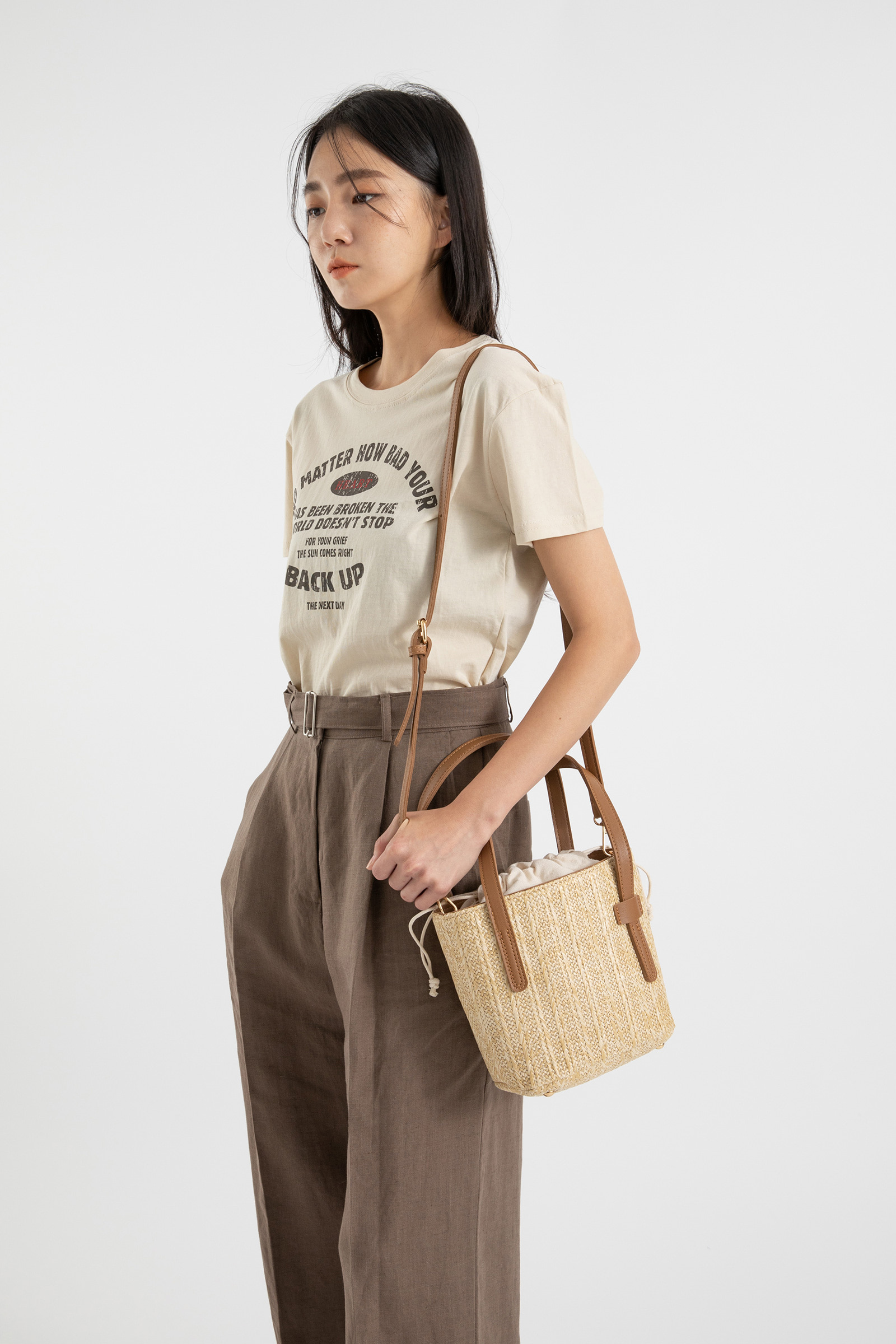 Sweet Rattan Pouch Two Way Tote Bag