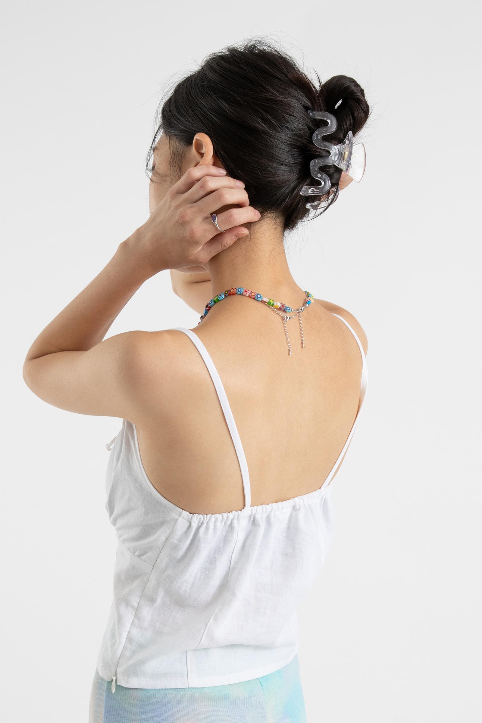 Julie linen shirring sleeveless top