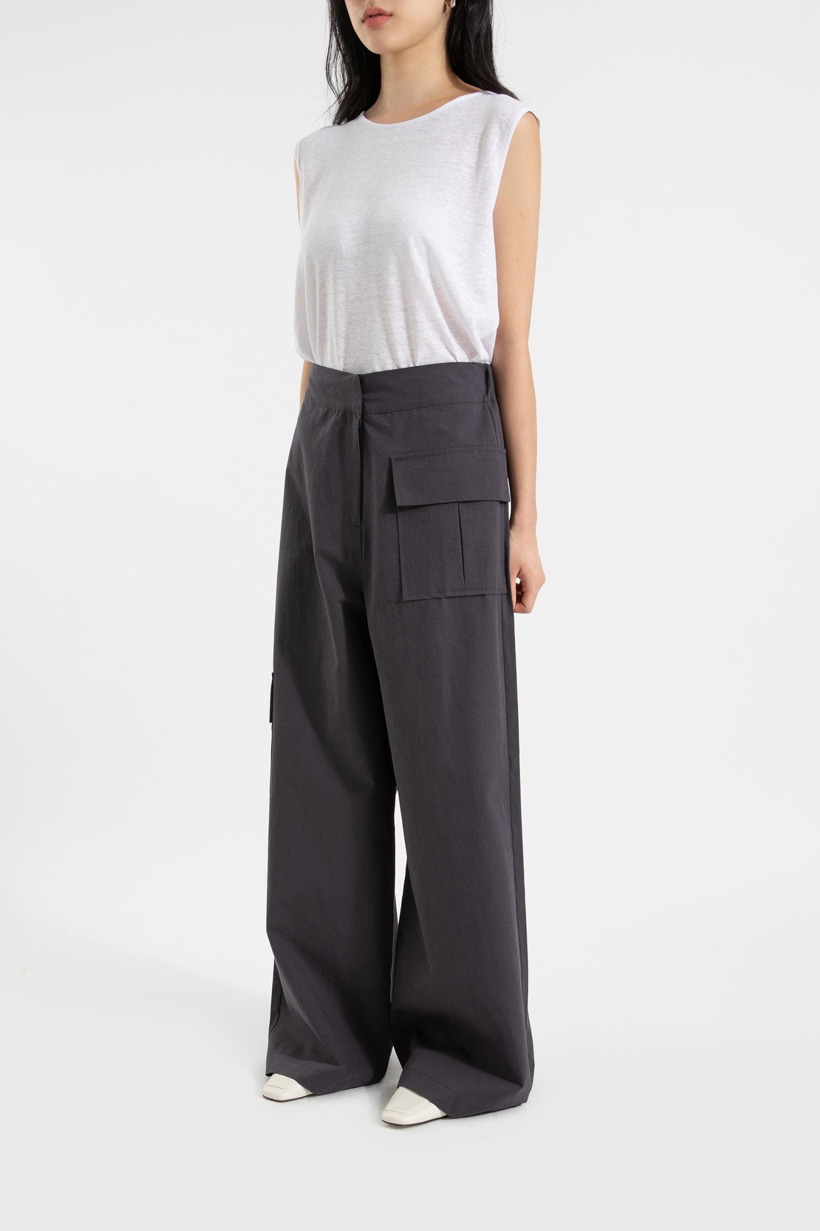 Big pocket high-rise wide pants