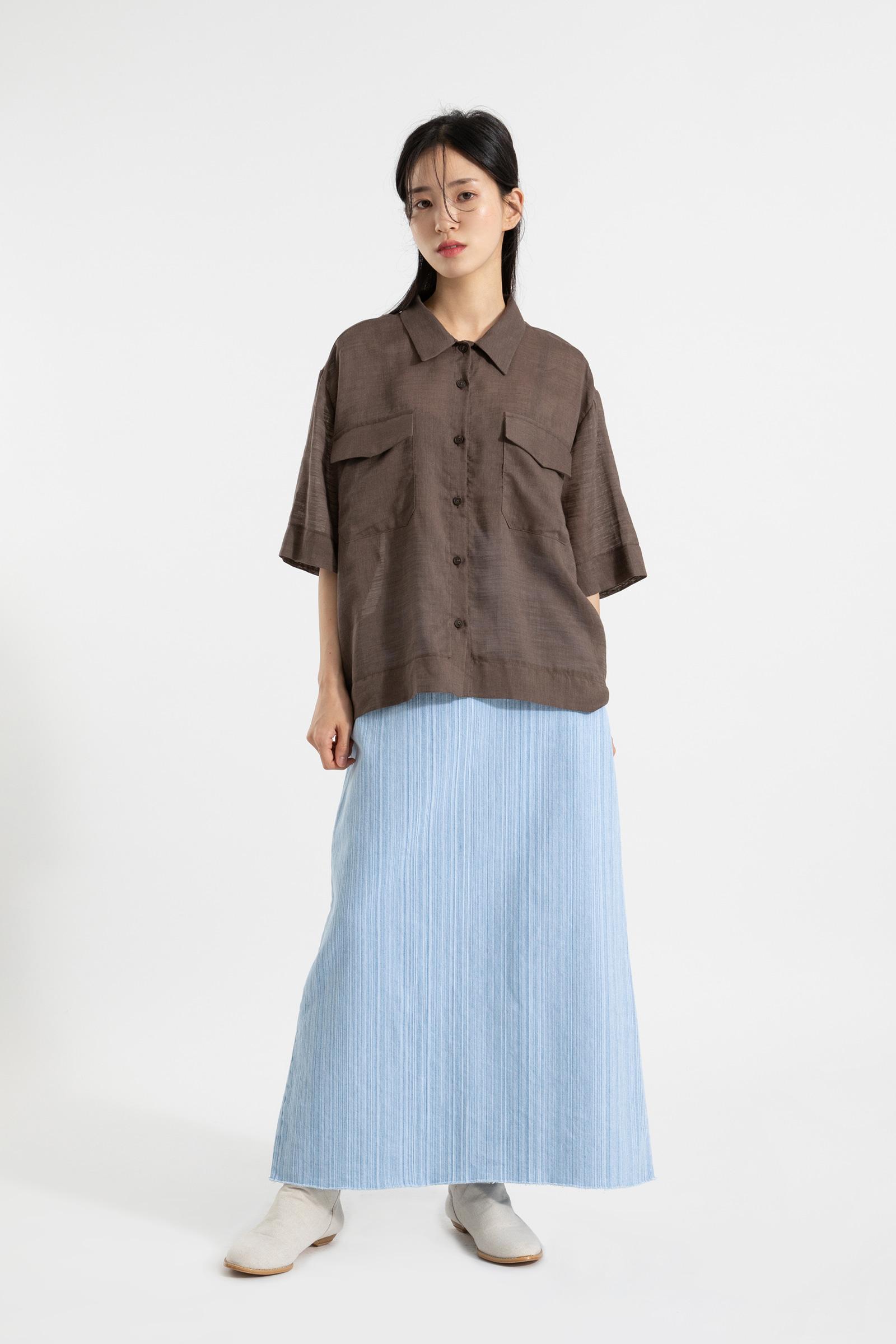 Light denim maxi skirt