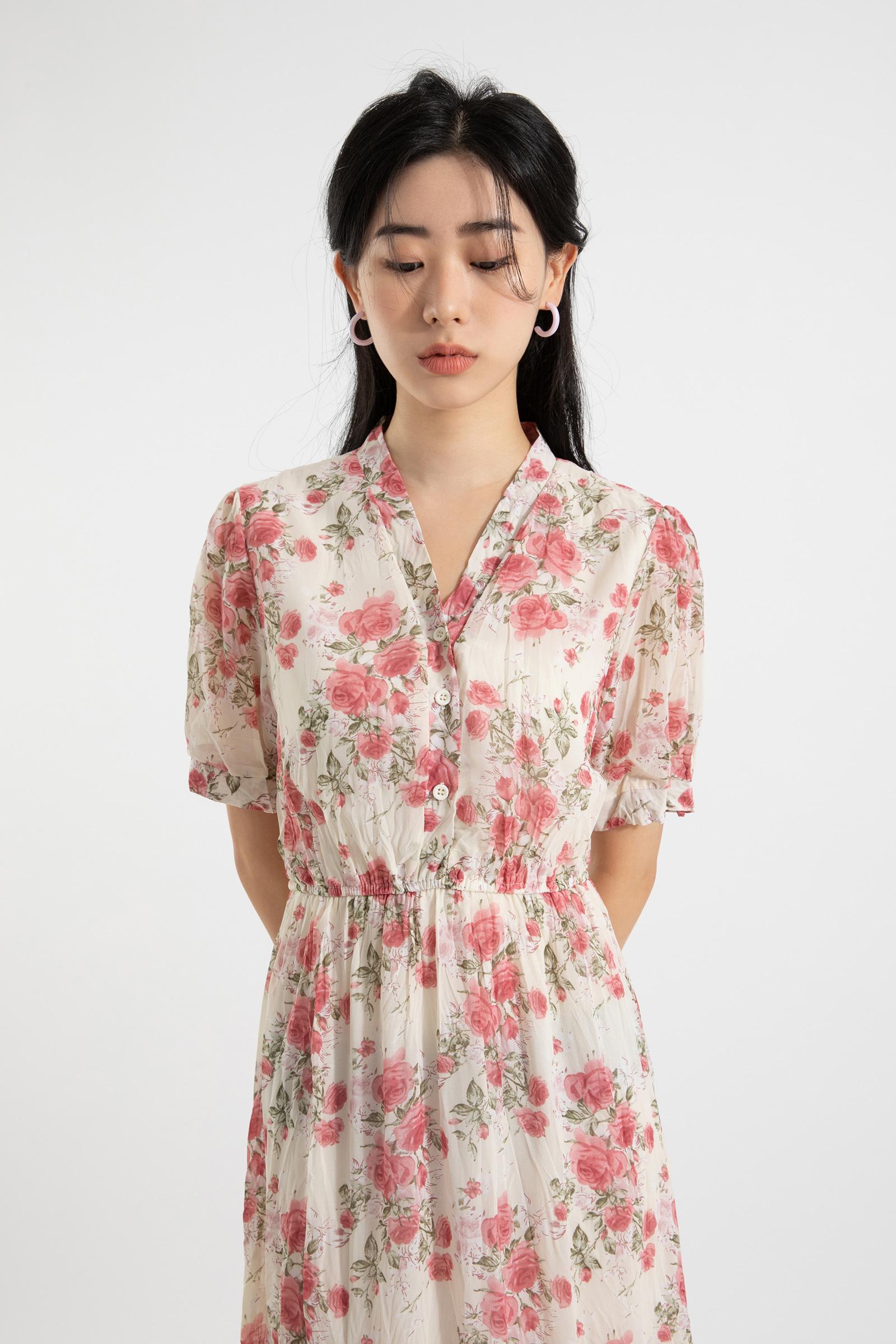 Rose cree maxi dress
