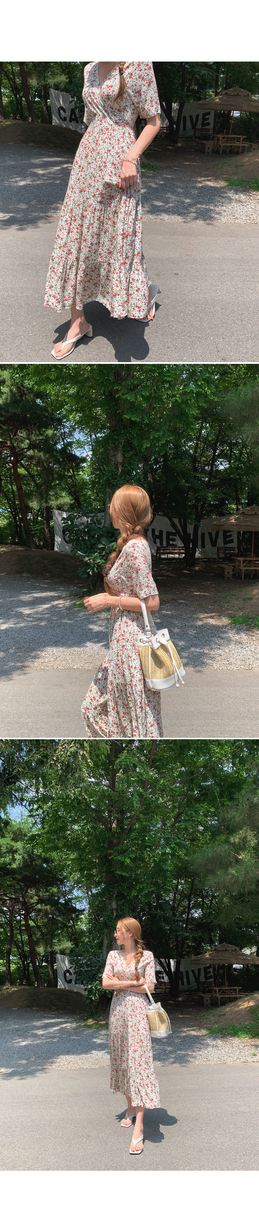 Let's go play a small flower shirring dress