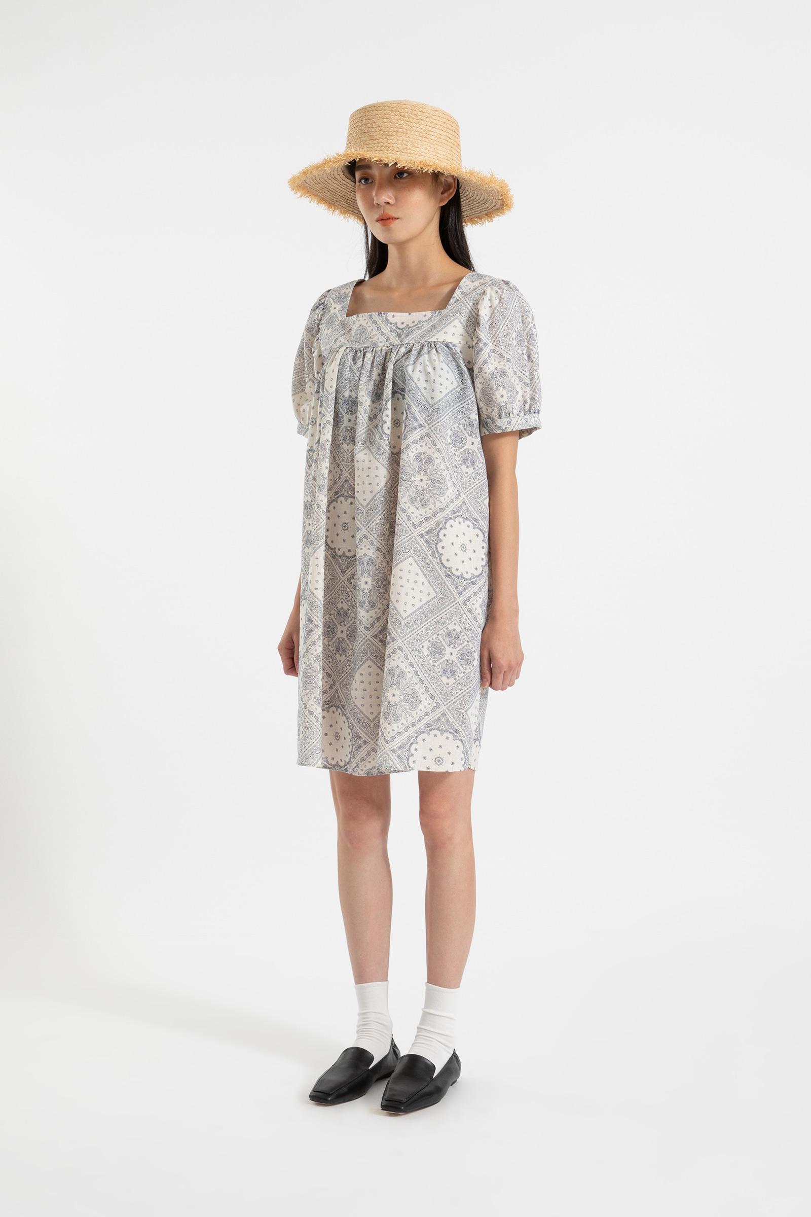 Lake linen paisley midi dress