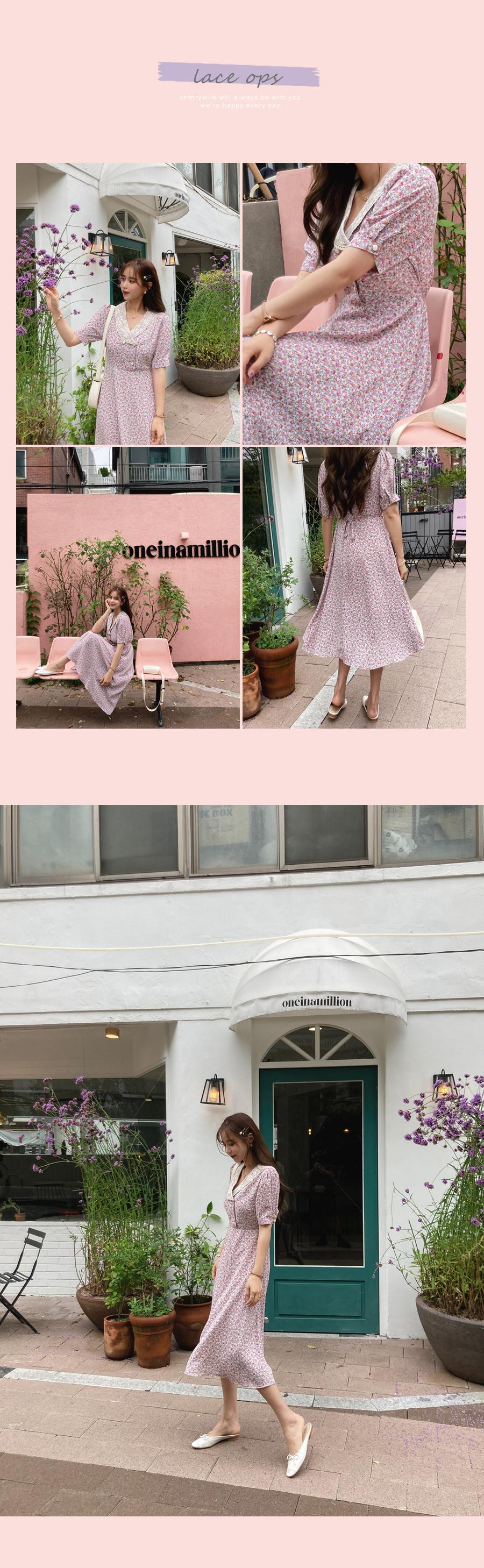 Shining flower lace dress