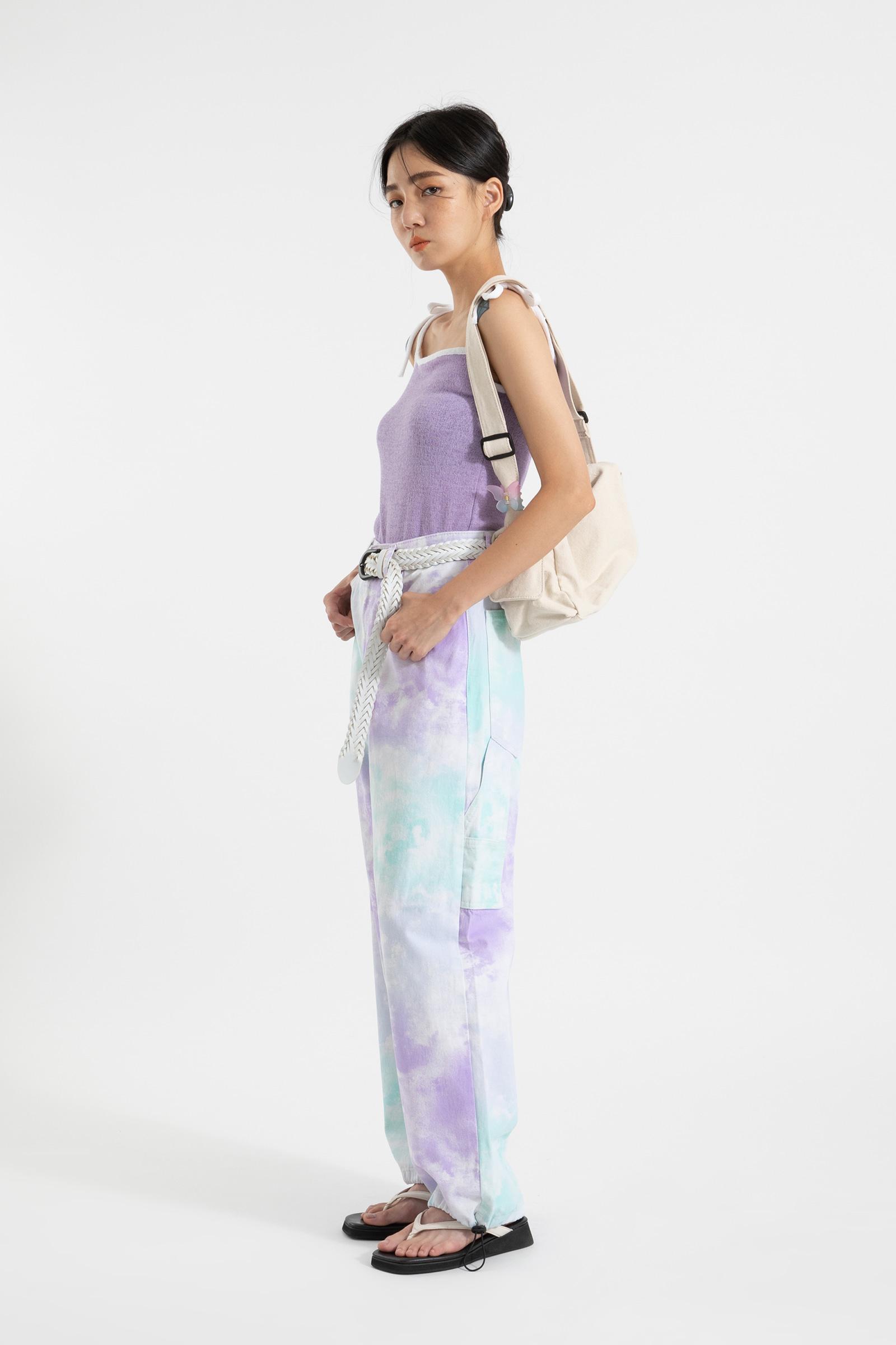 Purple strap tie-dye jogger pants