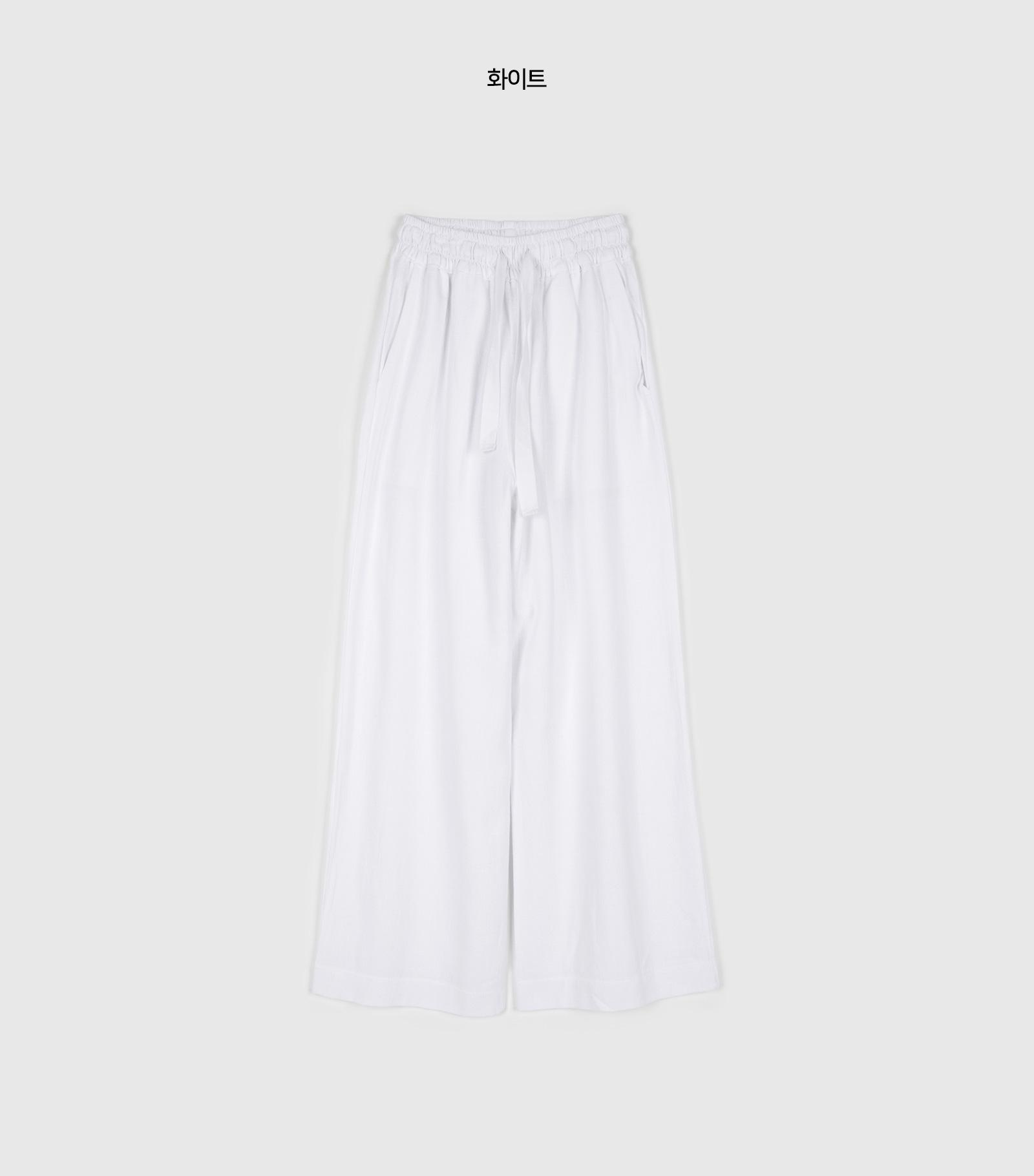 Solid linen banding pants