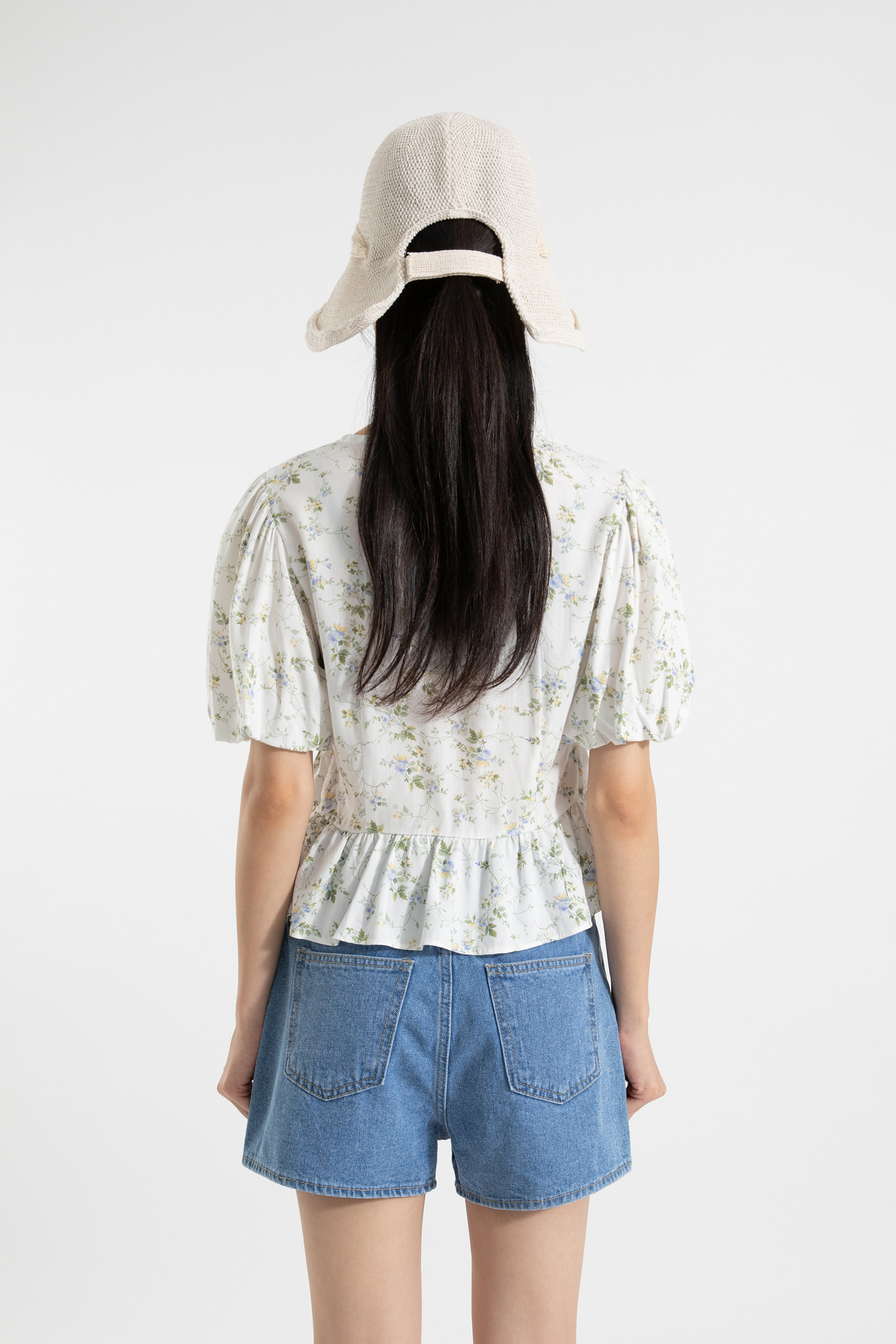 Baby floral shirring blouse