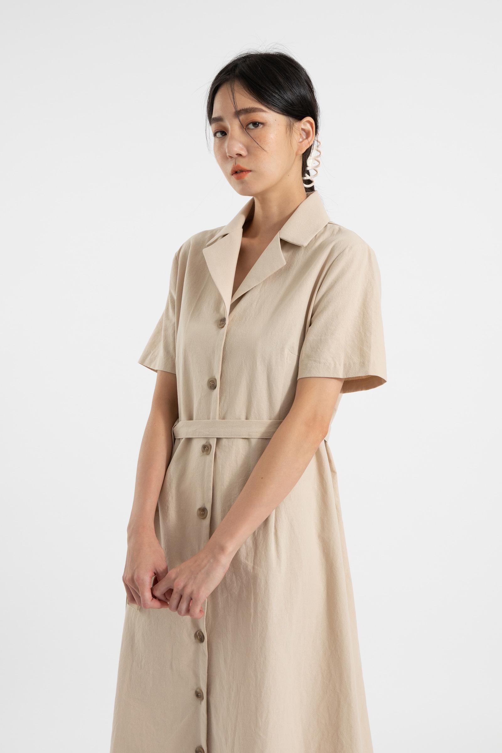 Baguette strap cotton midi dress