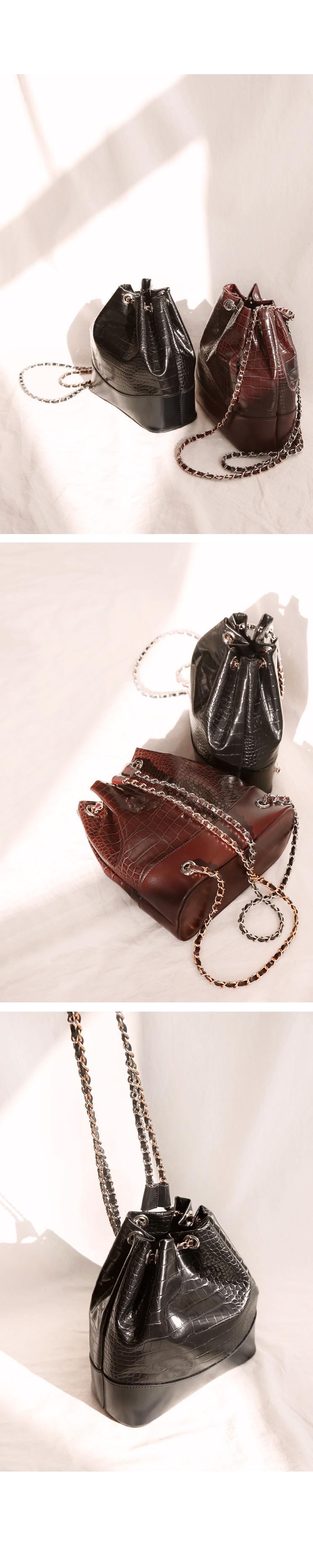 CROCODILE LEATHER CHAIN BACKPACK