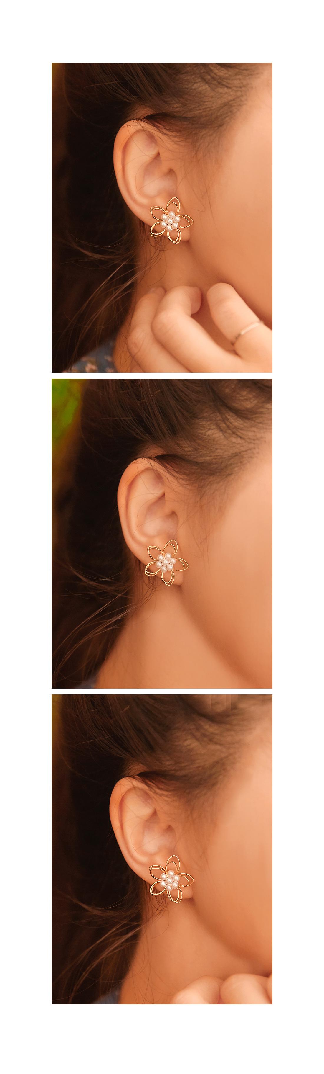 WIRE FLOWER PEARL EARRING