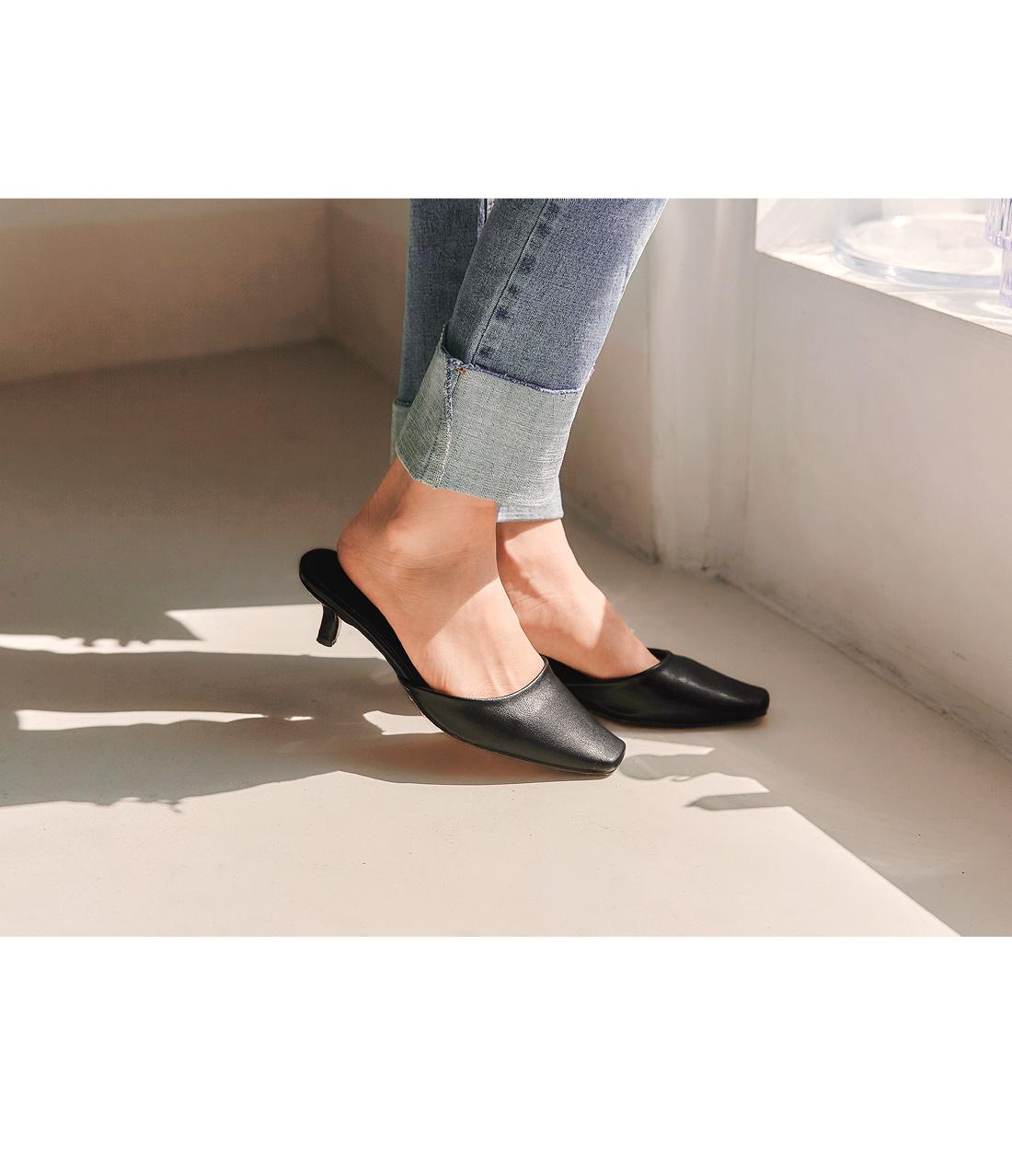Square Toe Kitten Heel Mules