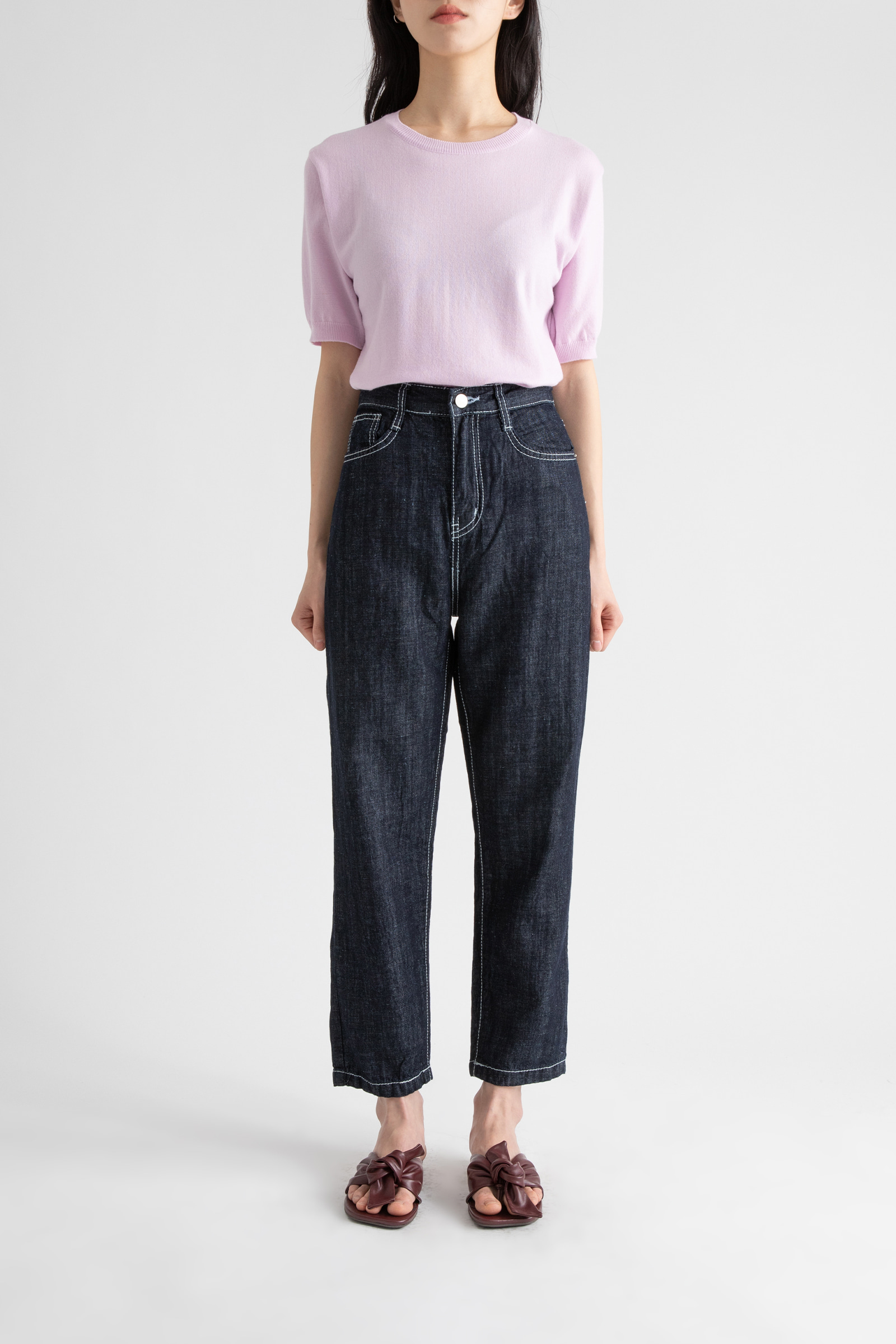Flexible linen dough slim jeans