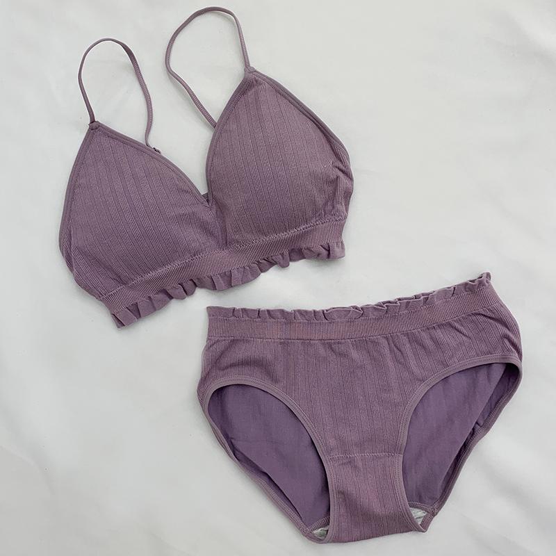 Basic Shirring Bralette Briefs Set 7color