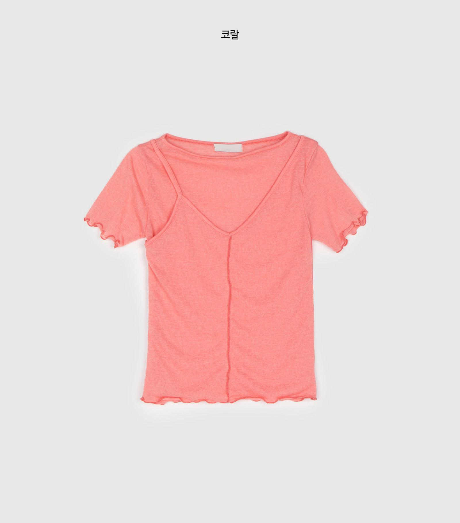 Half-layer style round neck T-shirt