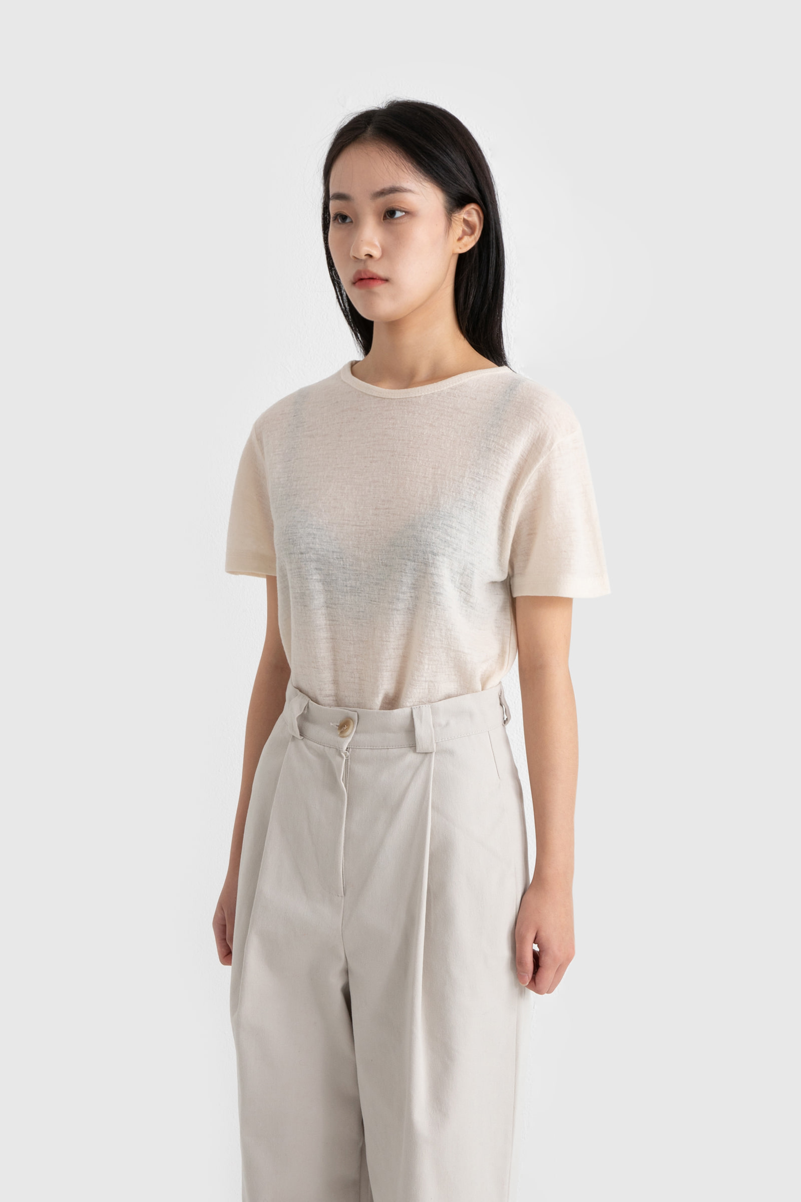 Wool short sleeve round neck T-shirt
