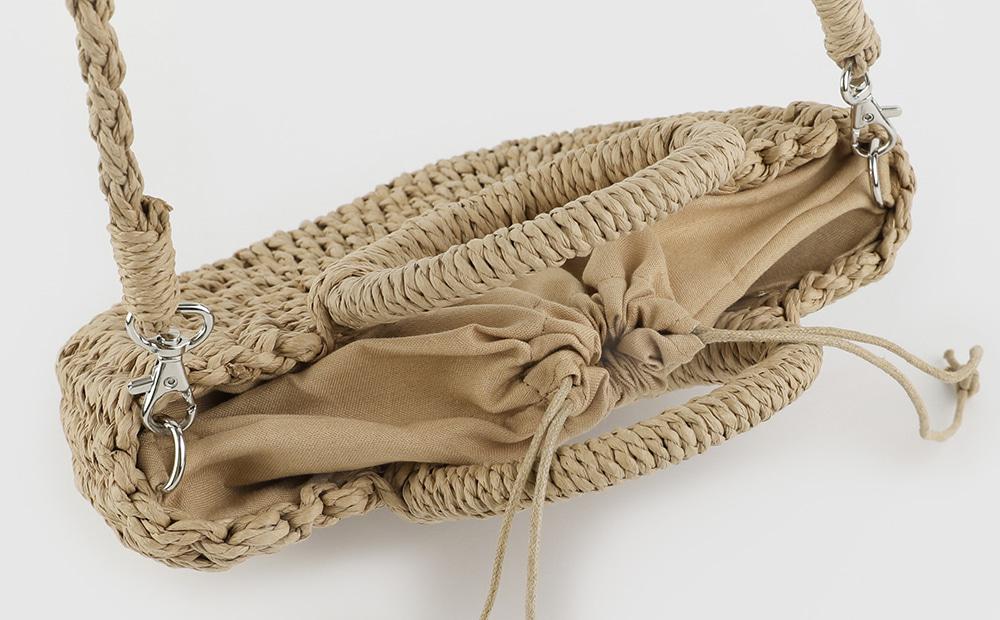 Wood rattan cross tote bag