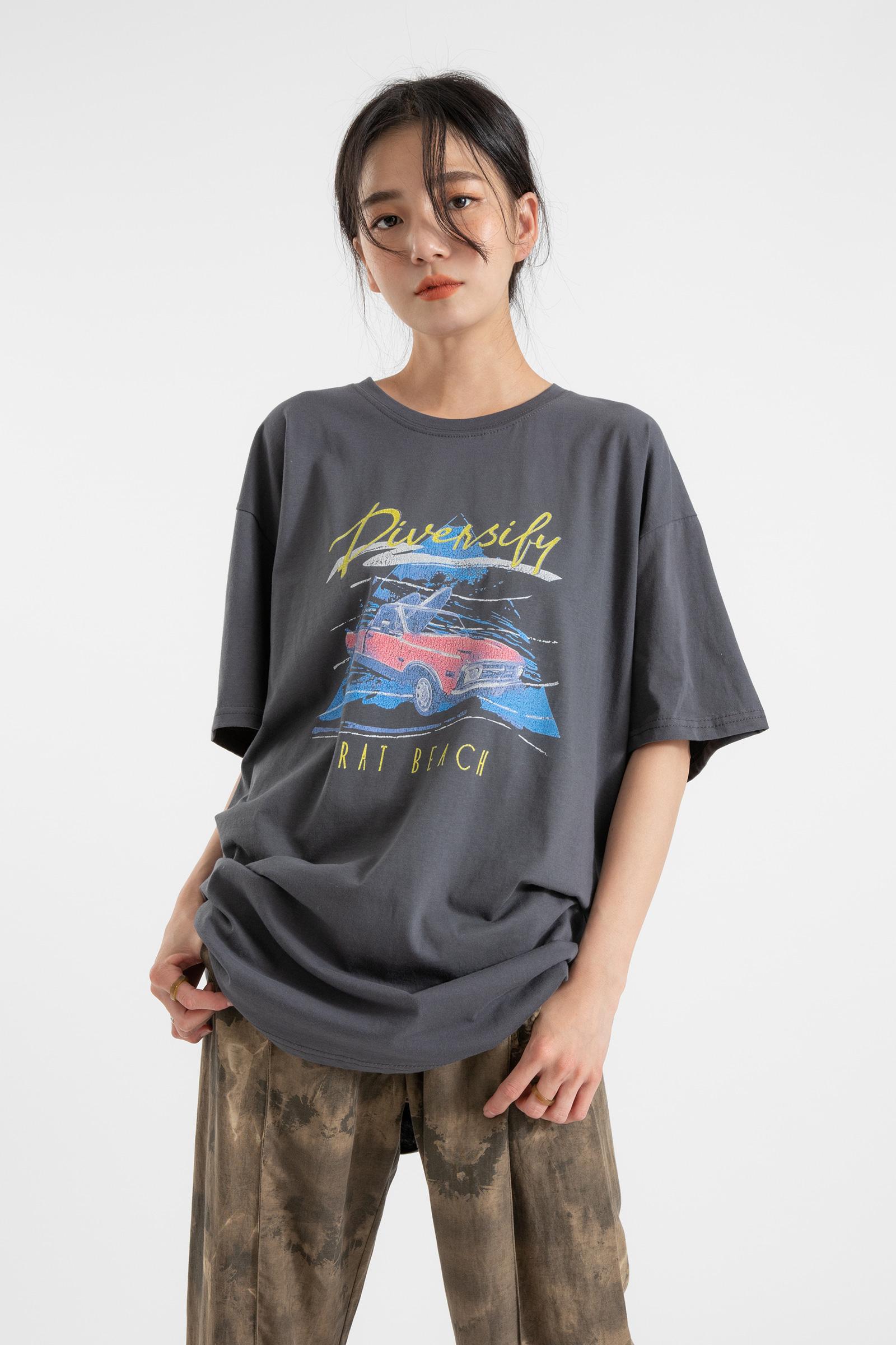 Retro-printed round-neck T-shirt