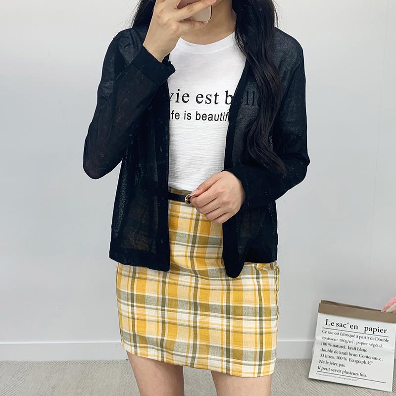 Pig linen check skirt