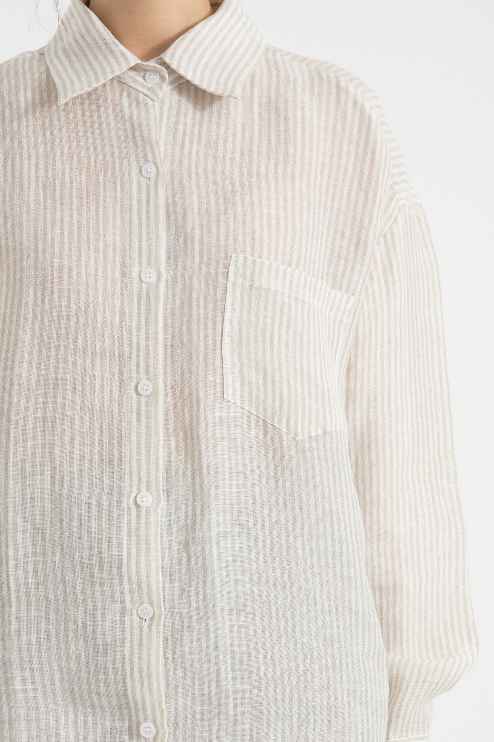 Pocket striped linen over shirt