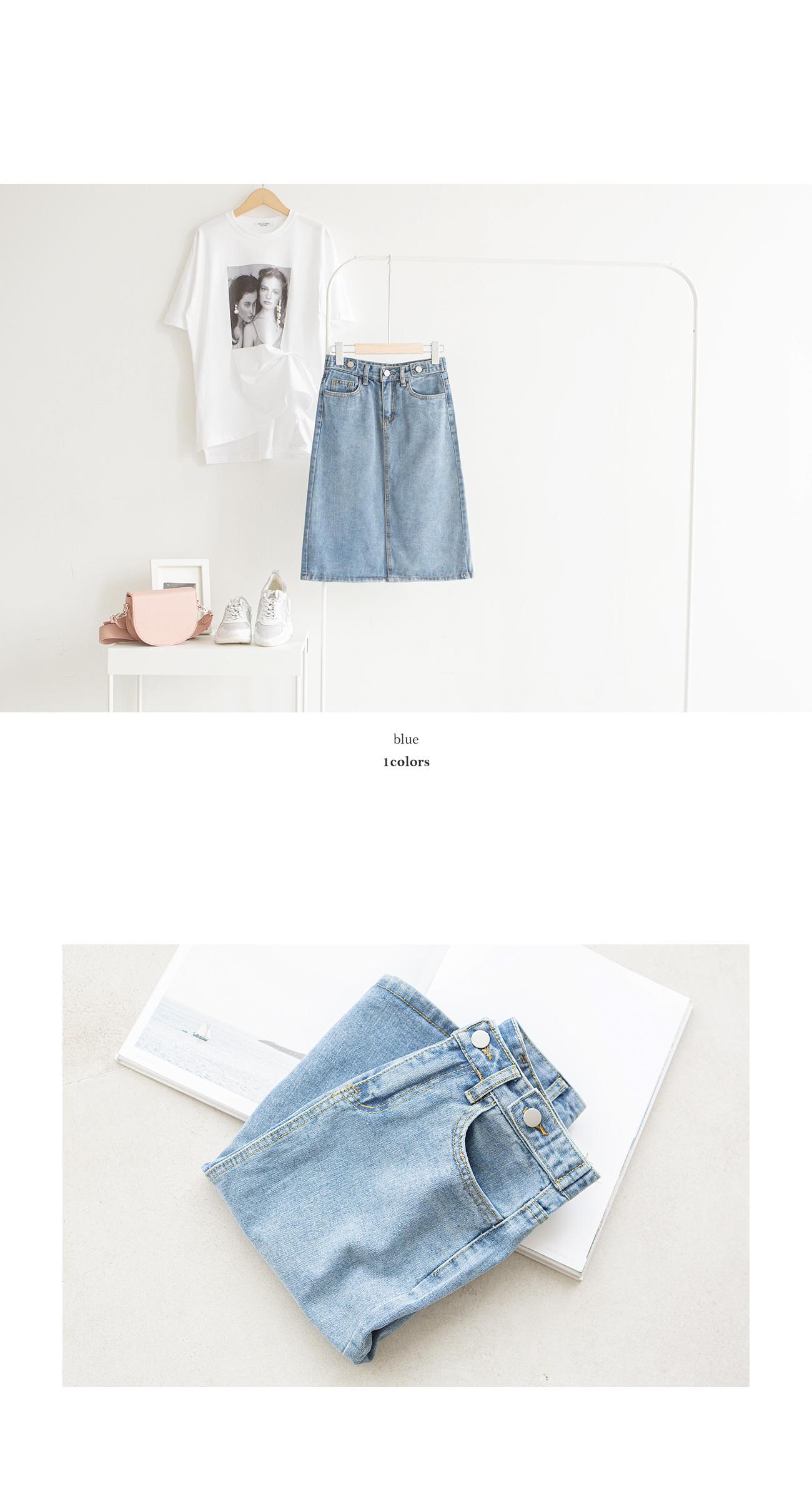 Button Twisted Medium Blue Skirt #51114