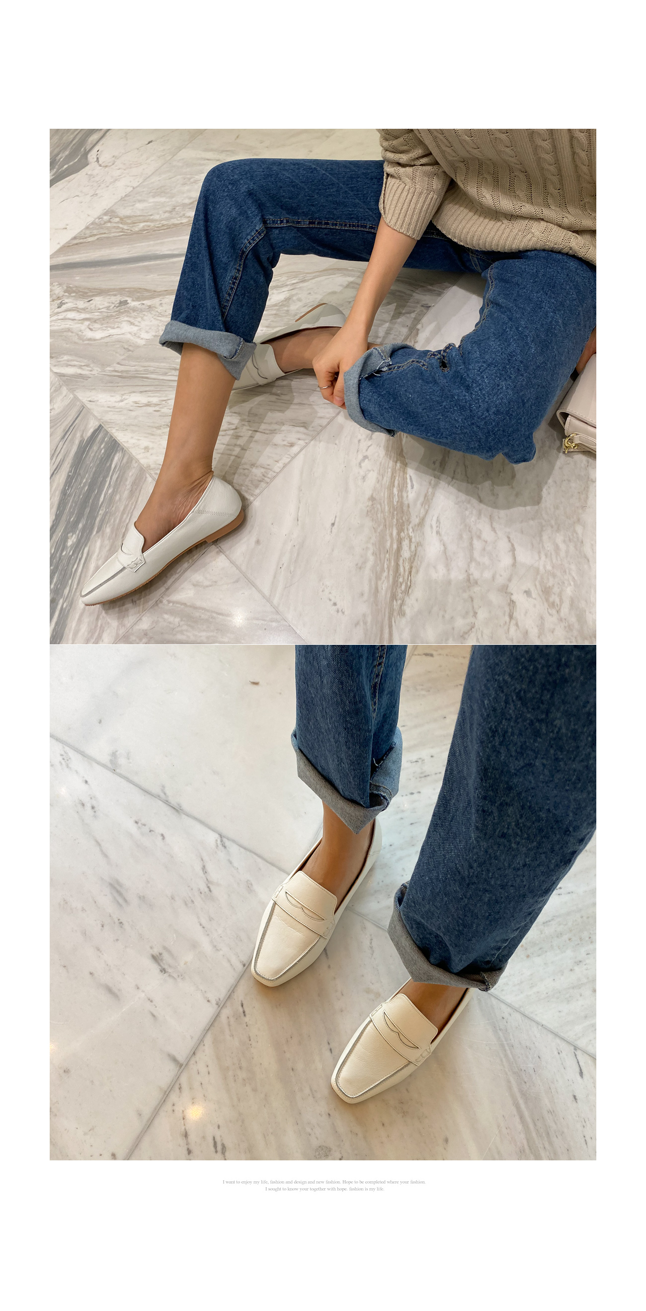 Cowhide basic loafers #85986