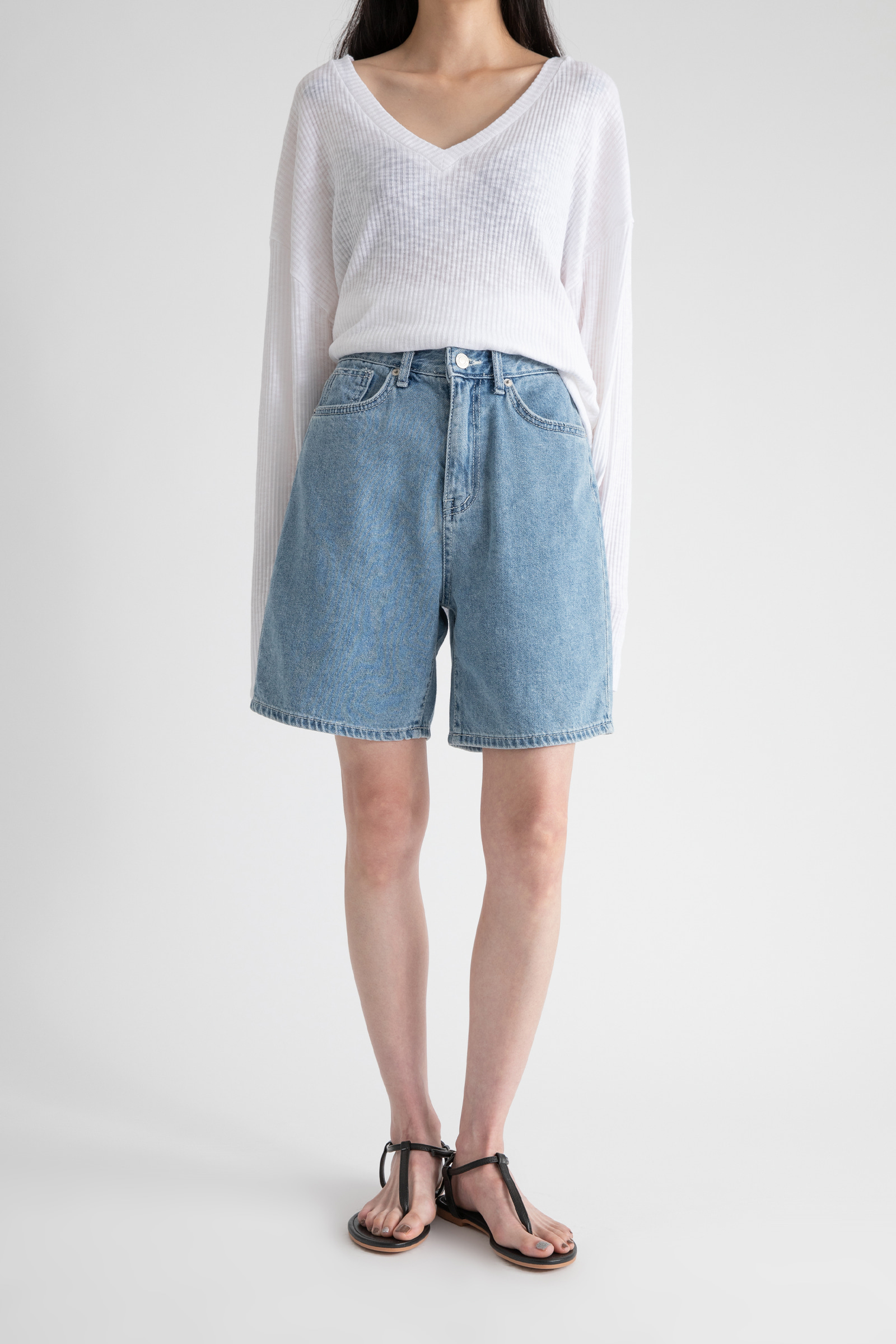Work high-rise half jeans