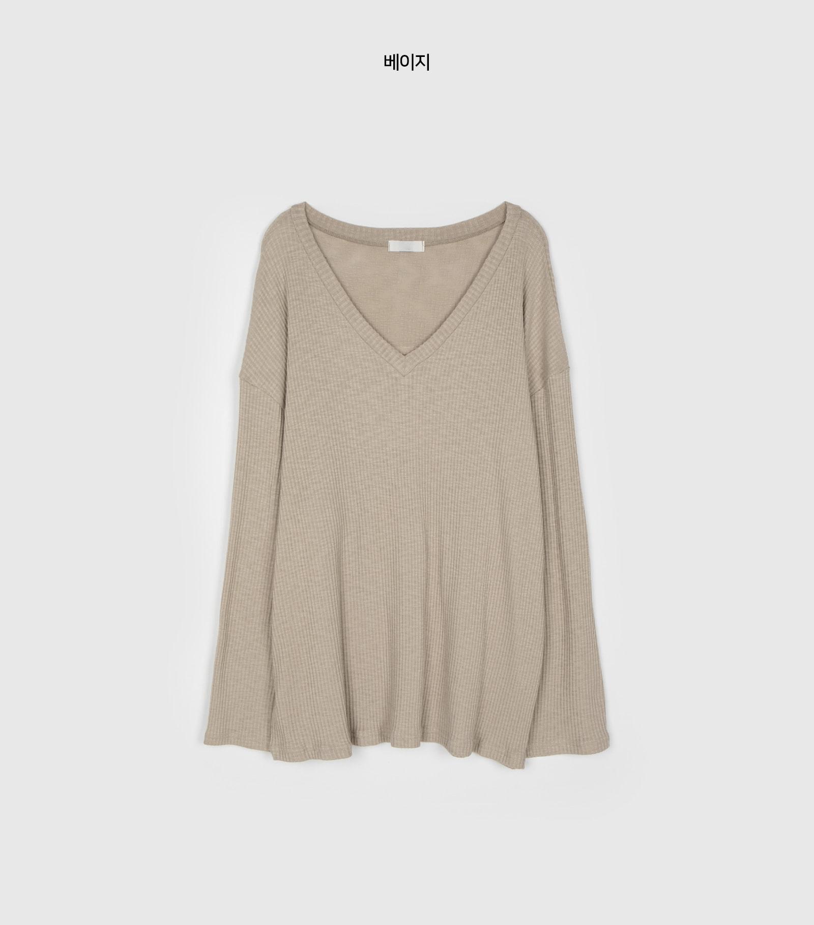 Comfy over ribbed V-neck T-shirt