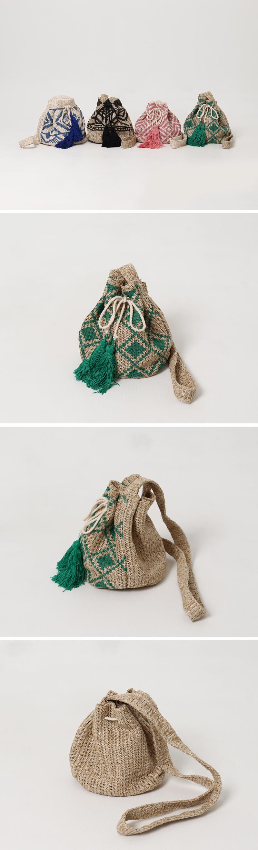 Ethnic raffia shoulder bucket bag