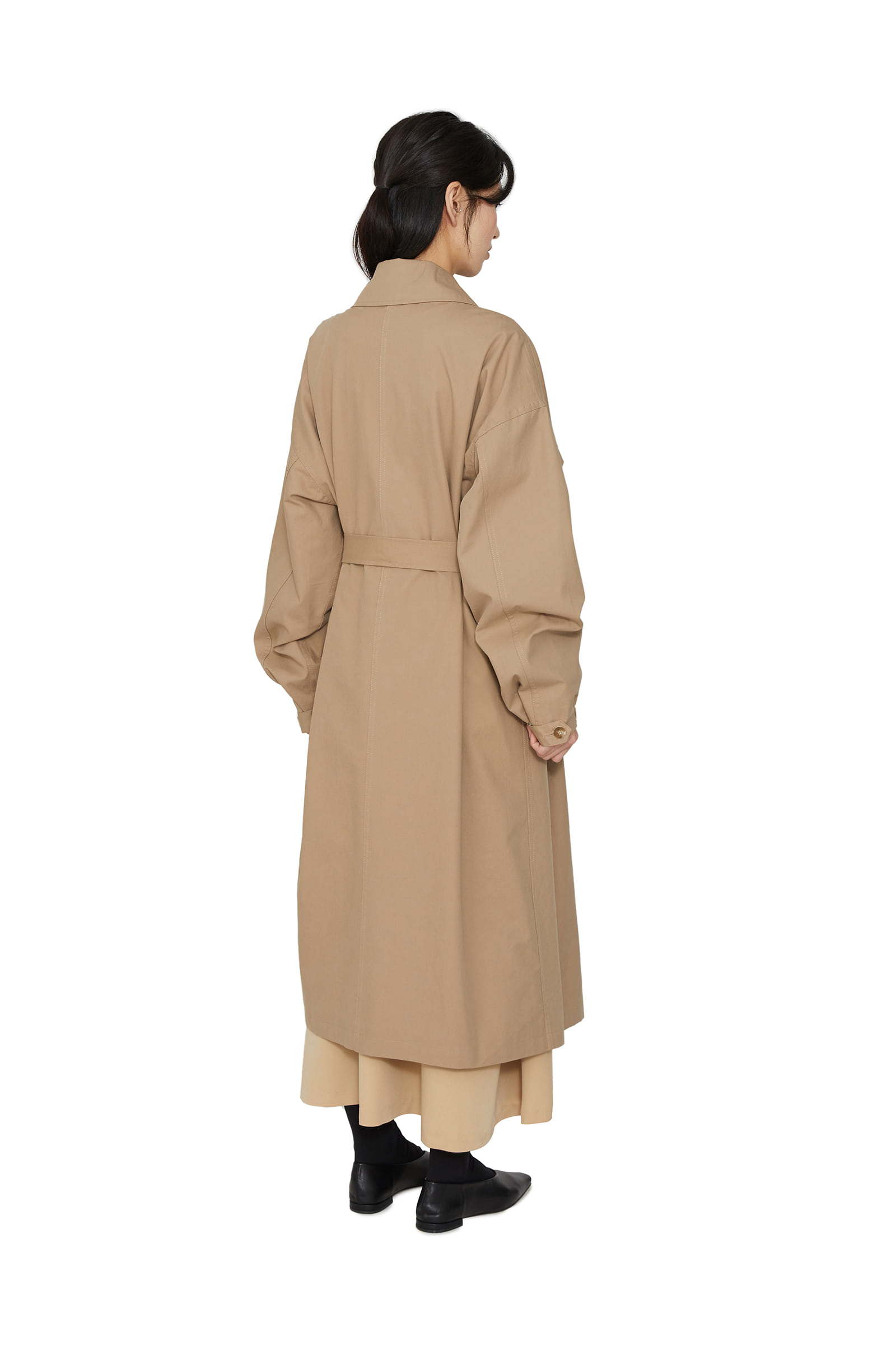 Curd collar single trench coat