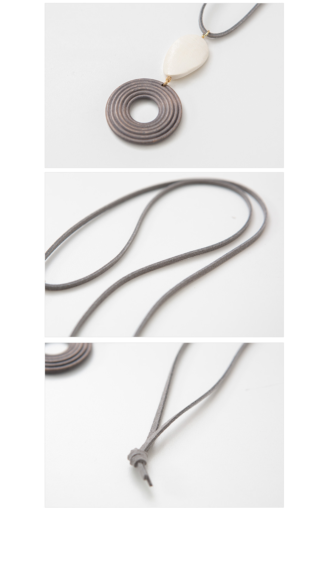 Two-tone wood long necklace #86245