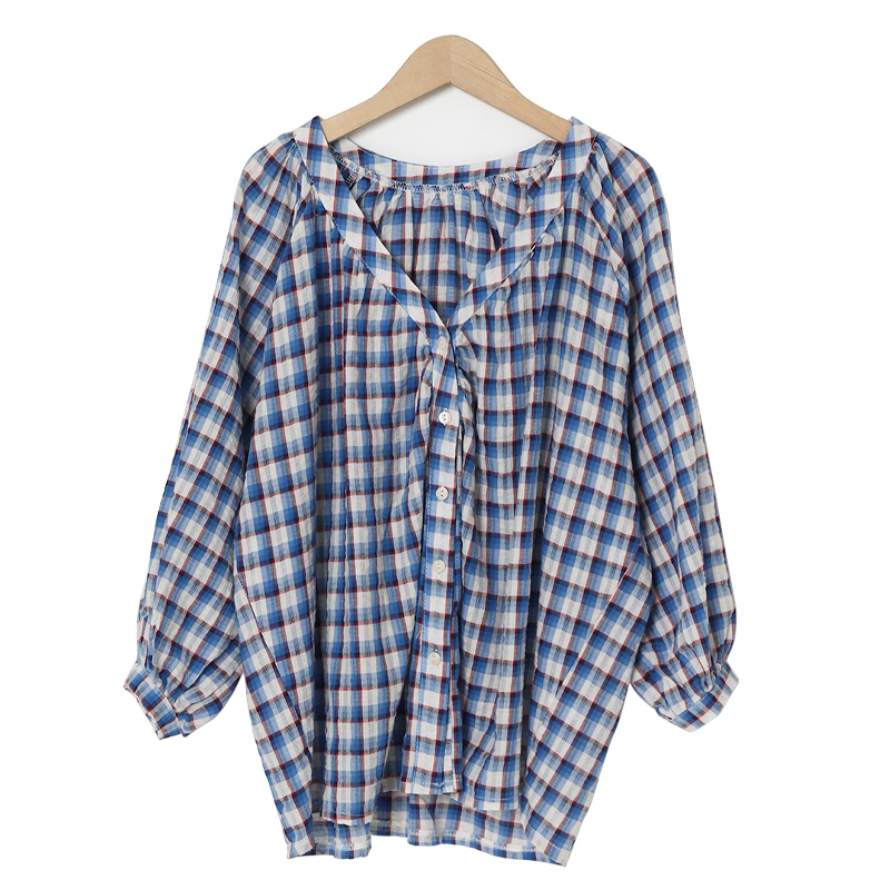 Mabe Check Balloon Blouse
