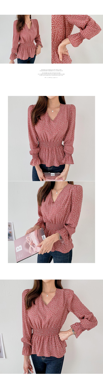 Flower pattern smog shirring blouse #44621