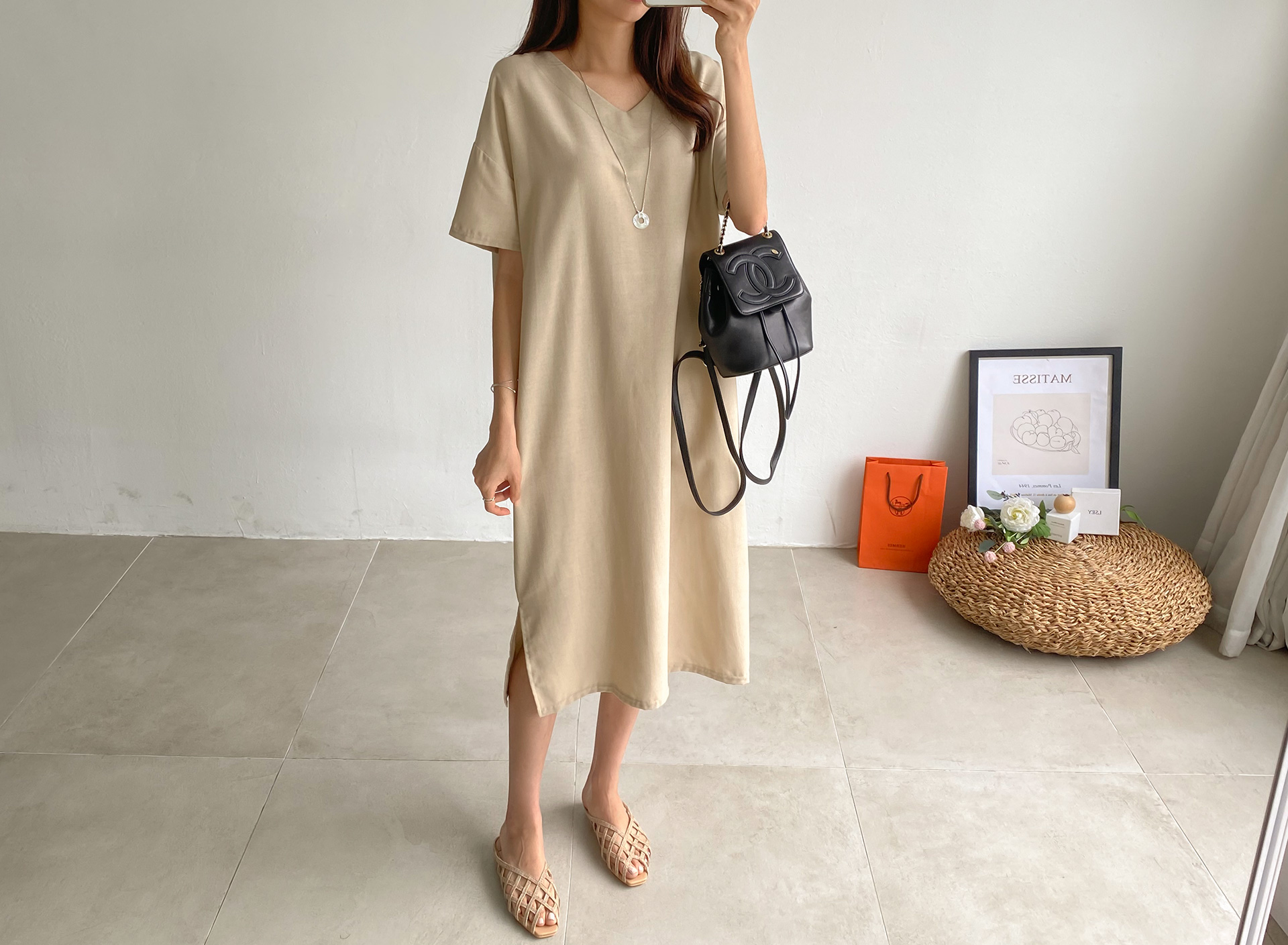 Linen Short Sleeve Split Long Dress #37661