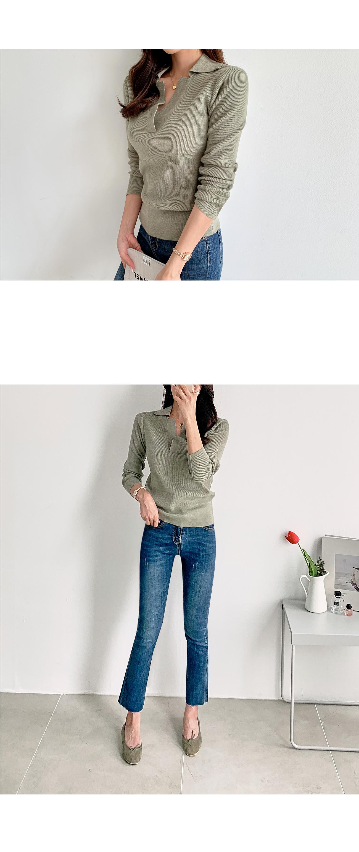 Simple Collar Long Sleeve Knit #107466