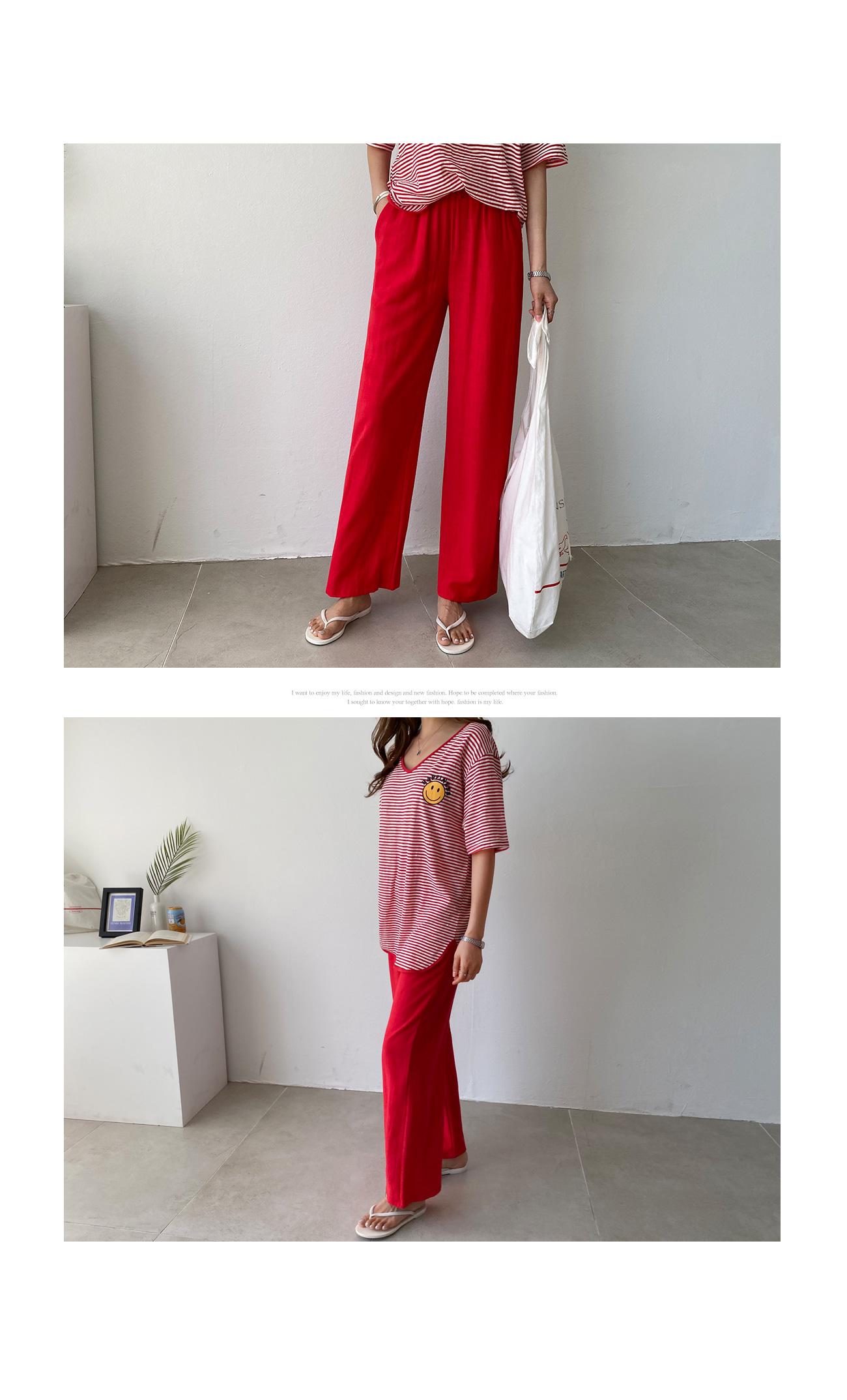 Linen straight fit banding pants #75769