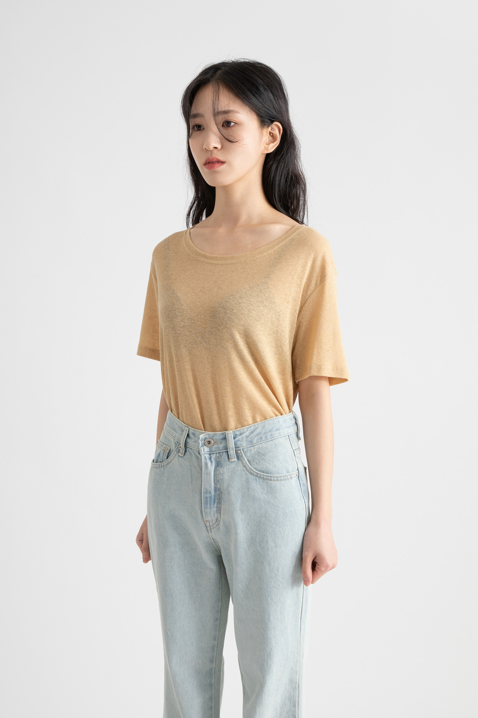 Linen ribbed round-neck T-shirt
