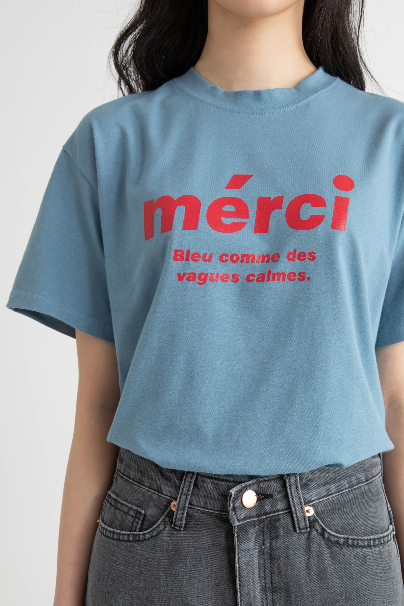 Mercy Lettering Round Neck T-Shirt