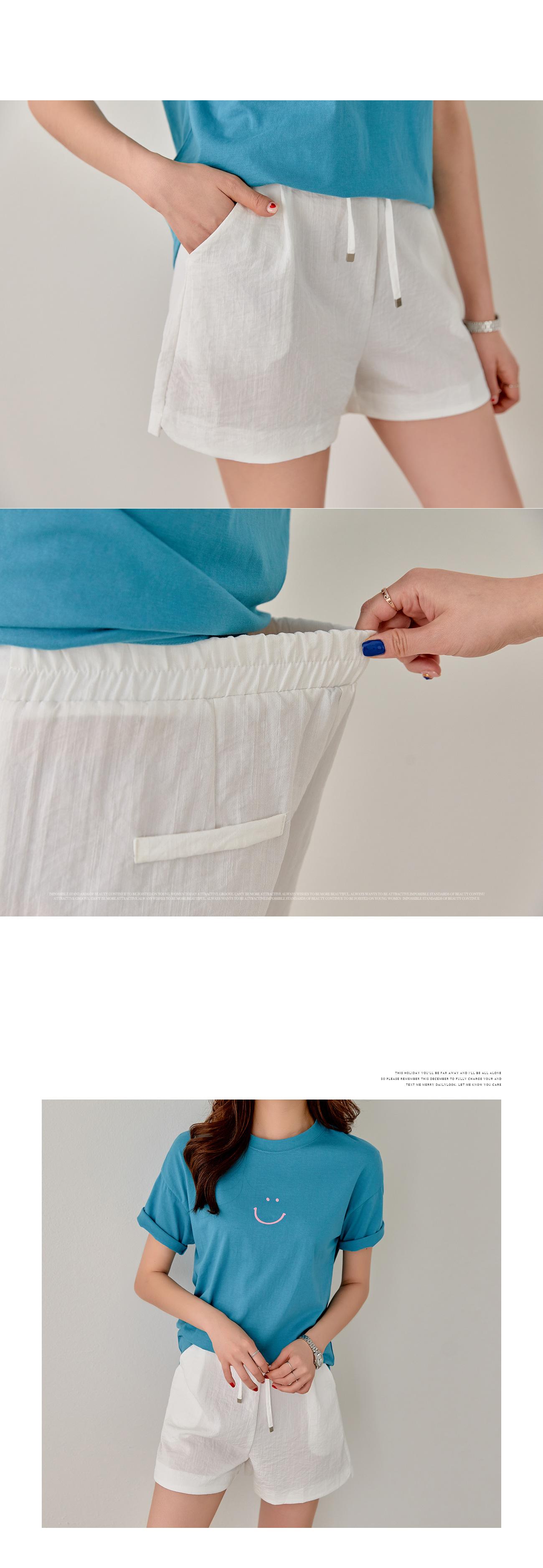Ribbon strap banding cotton shorts #75325