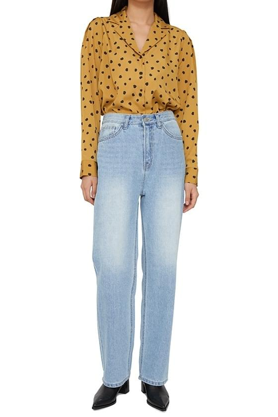 Center washed straight jeans