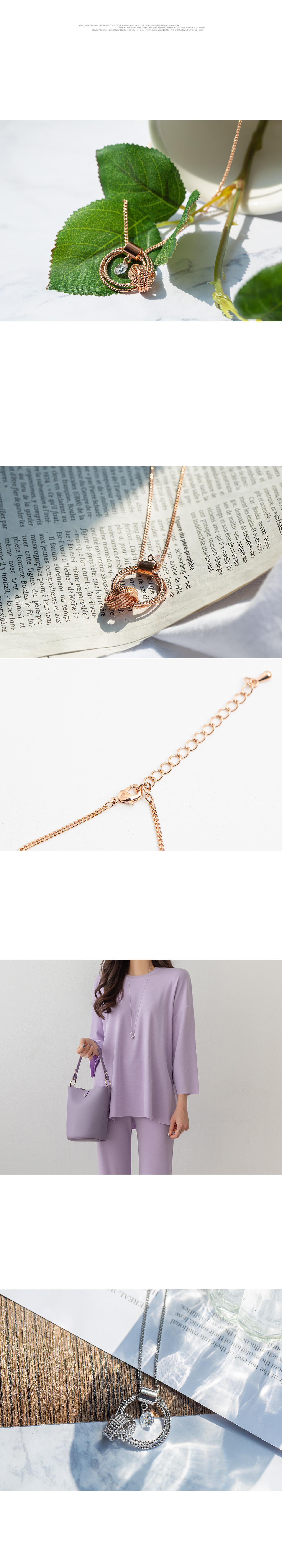 Rose Circle Twist Long Necklace #86027