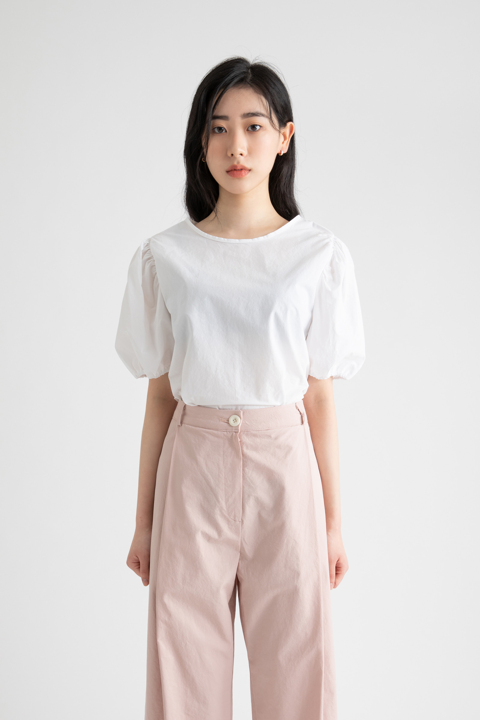 Pumpkin puff ribbon blouse