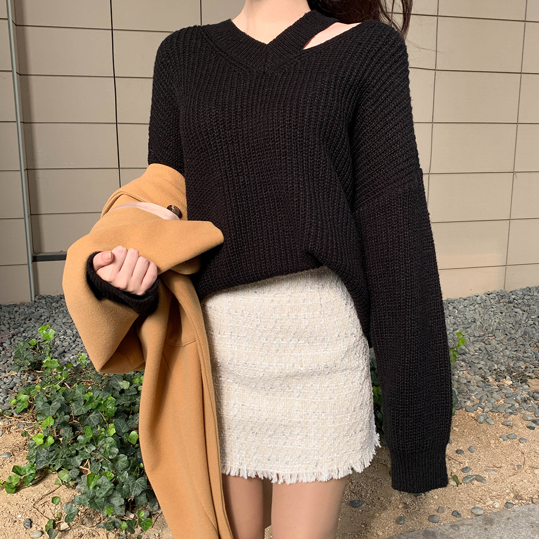 Girly shoulder trim knit