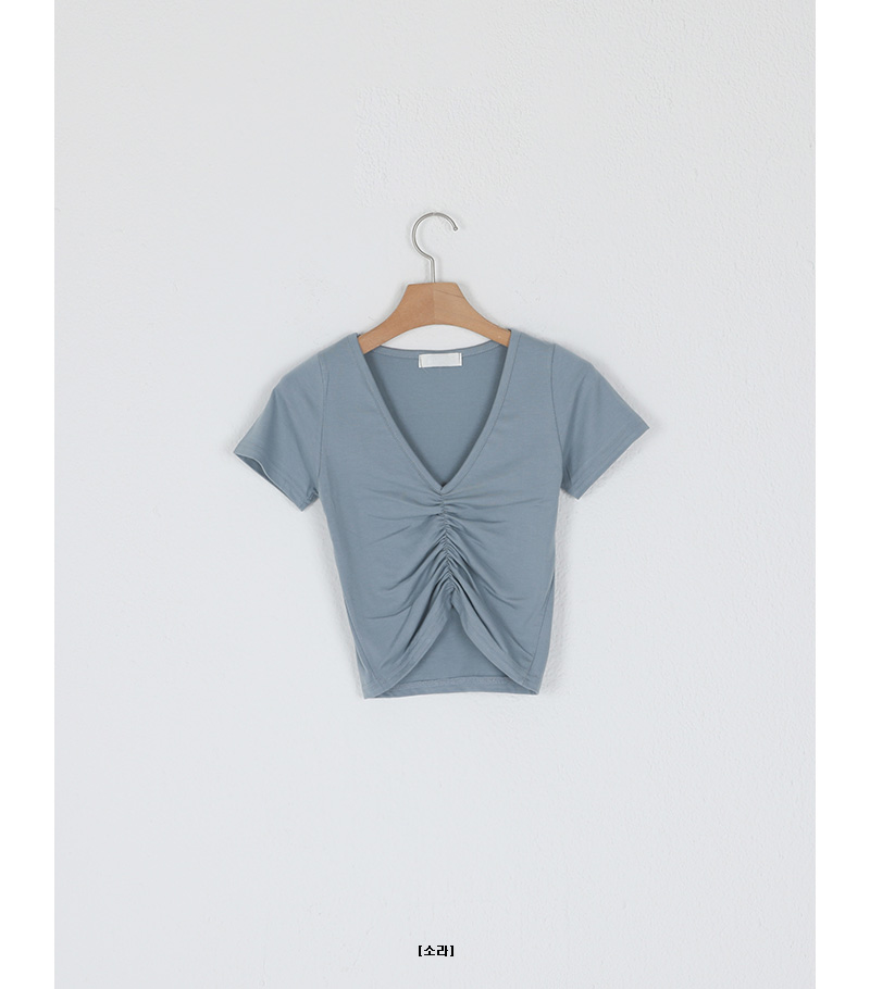 Shirring point slim cropped V-neck T-shirt