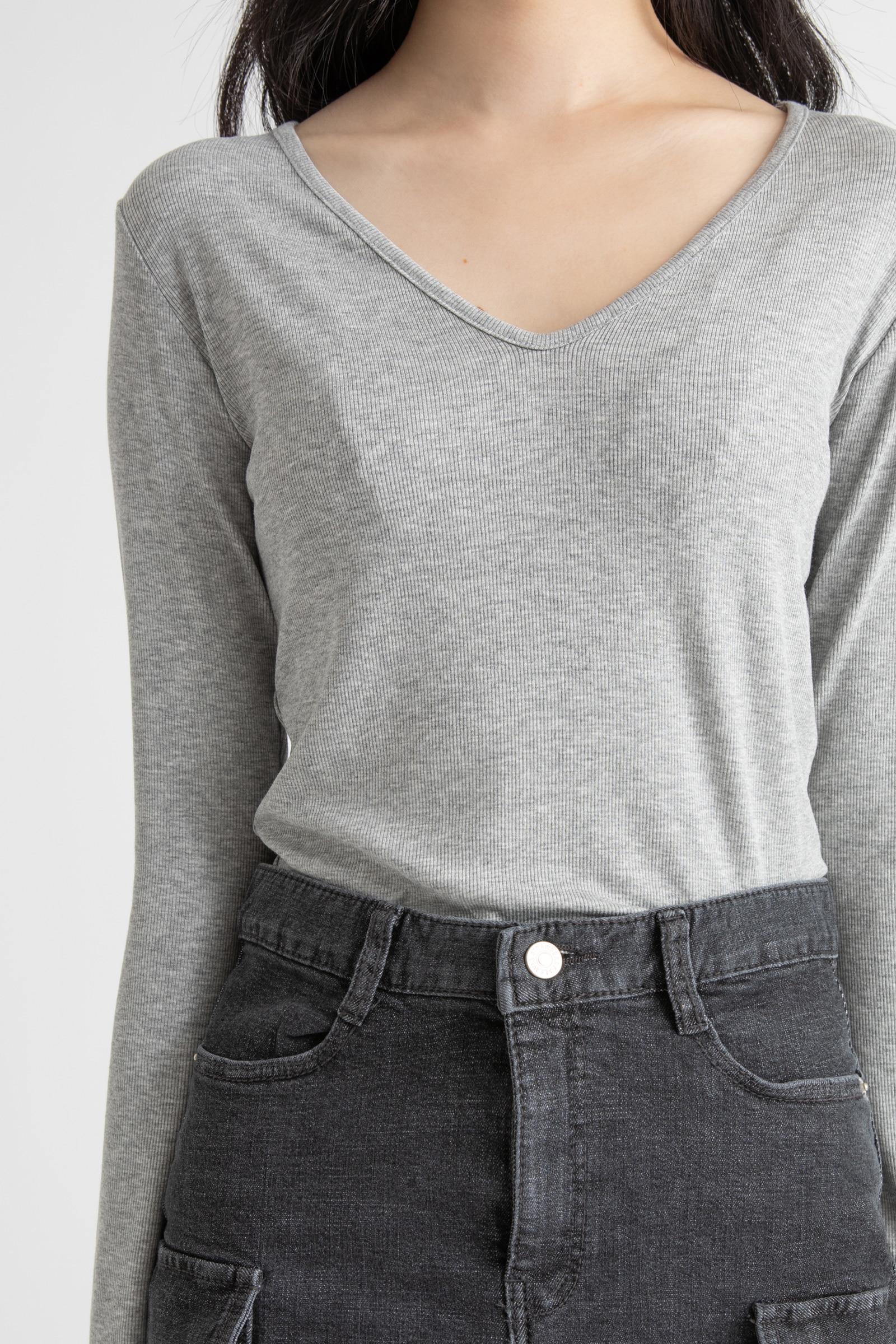 Basic Ribbed V Neck T-Shirt