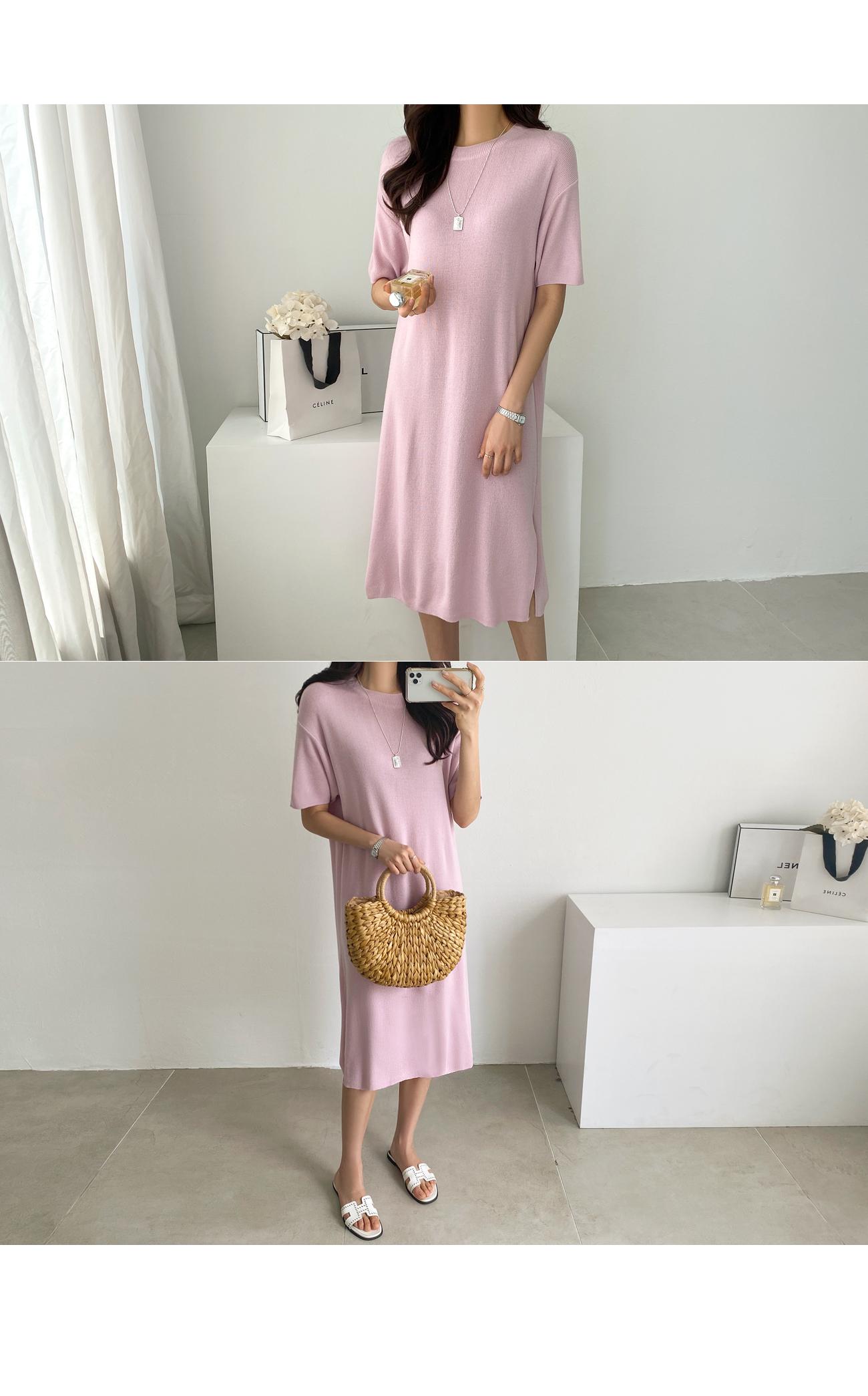 Loose Fit Split Knit Dress #37479