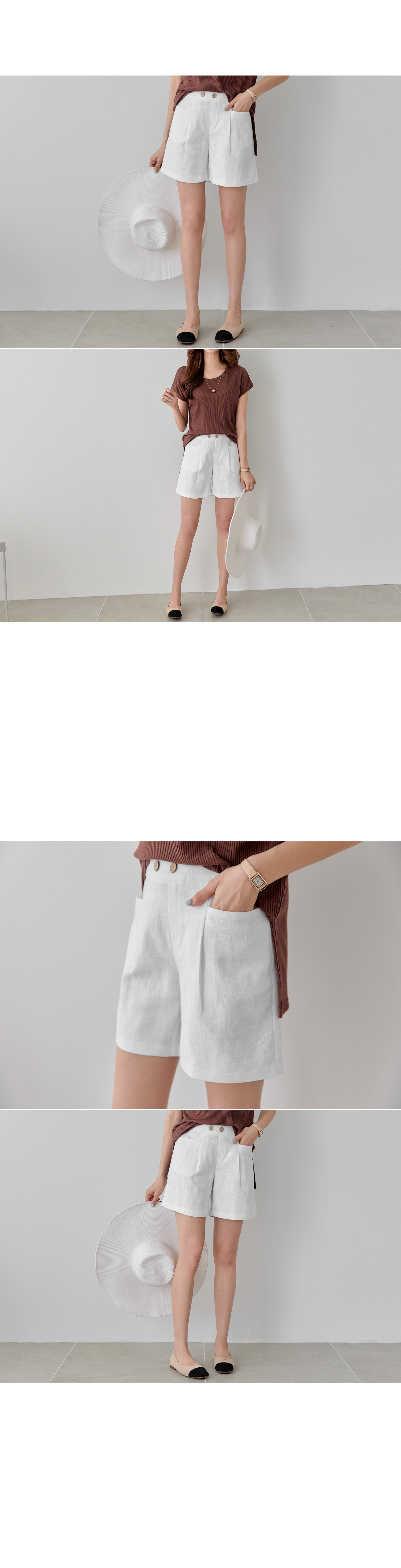 Front Button Banding Linen Shorts #75312